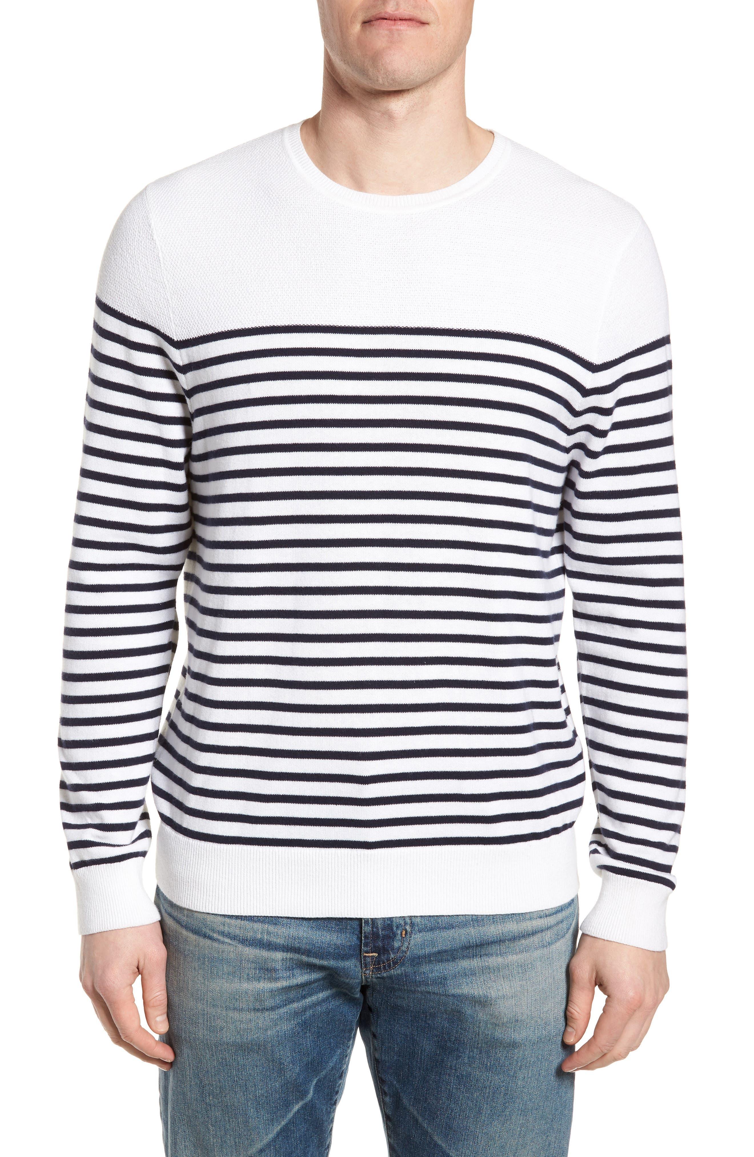 Breton Stripe Sweater,                             Main thumbnail 1, color,                             White Navy Stripe