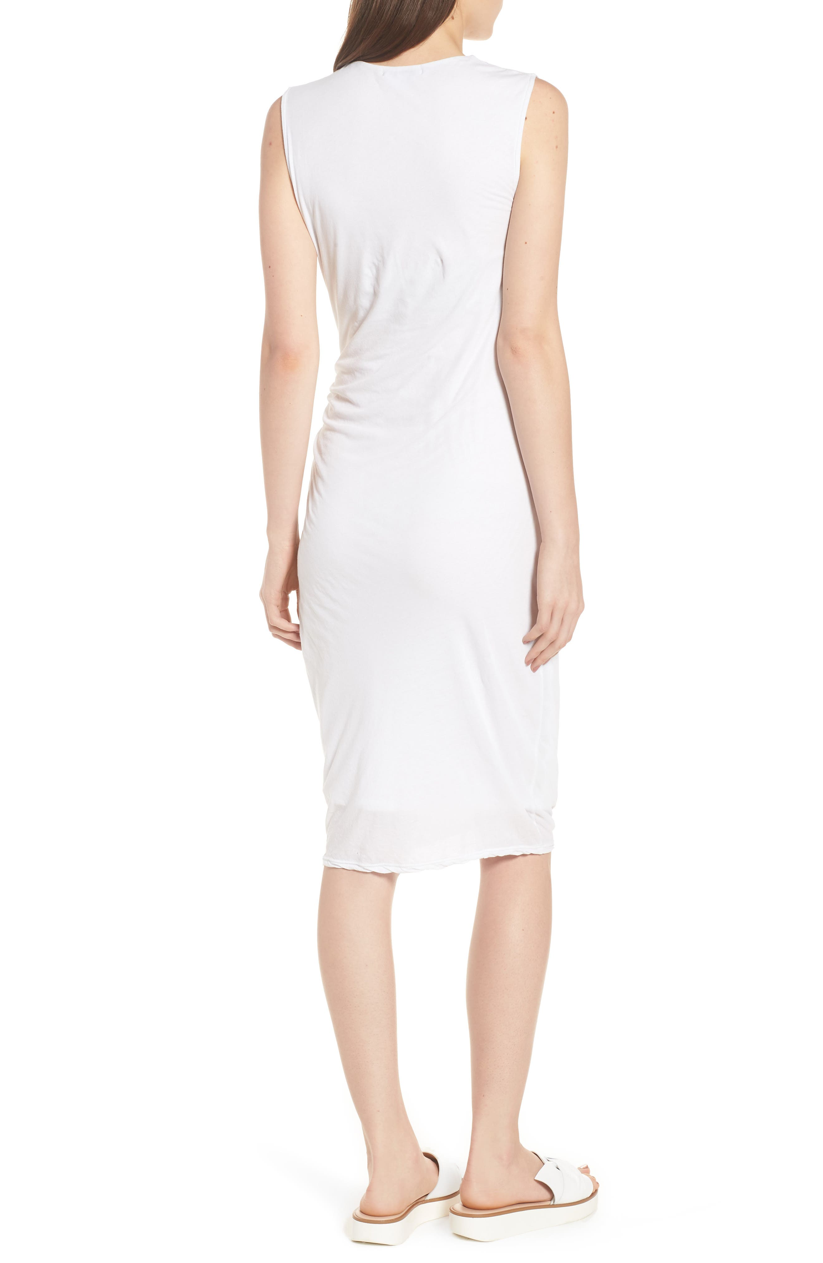 Shirred Midi Dress,                             Alternate thumbnail 2, color,                             White