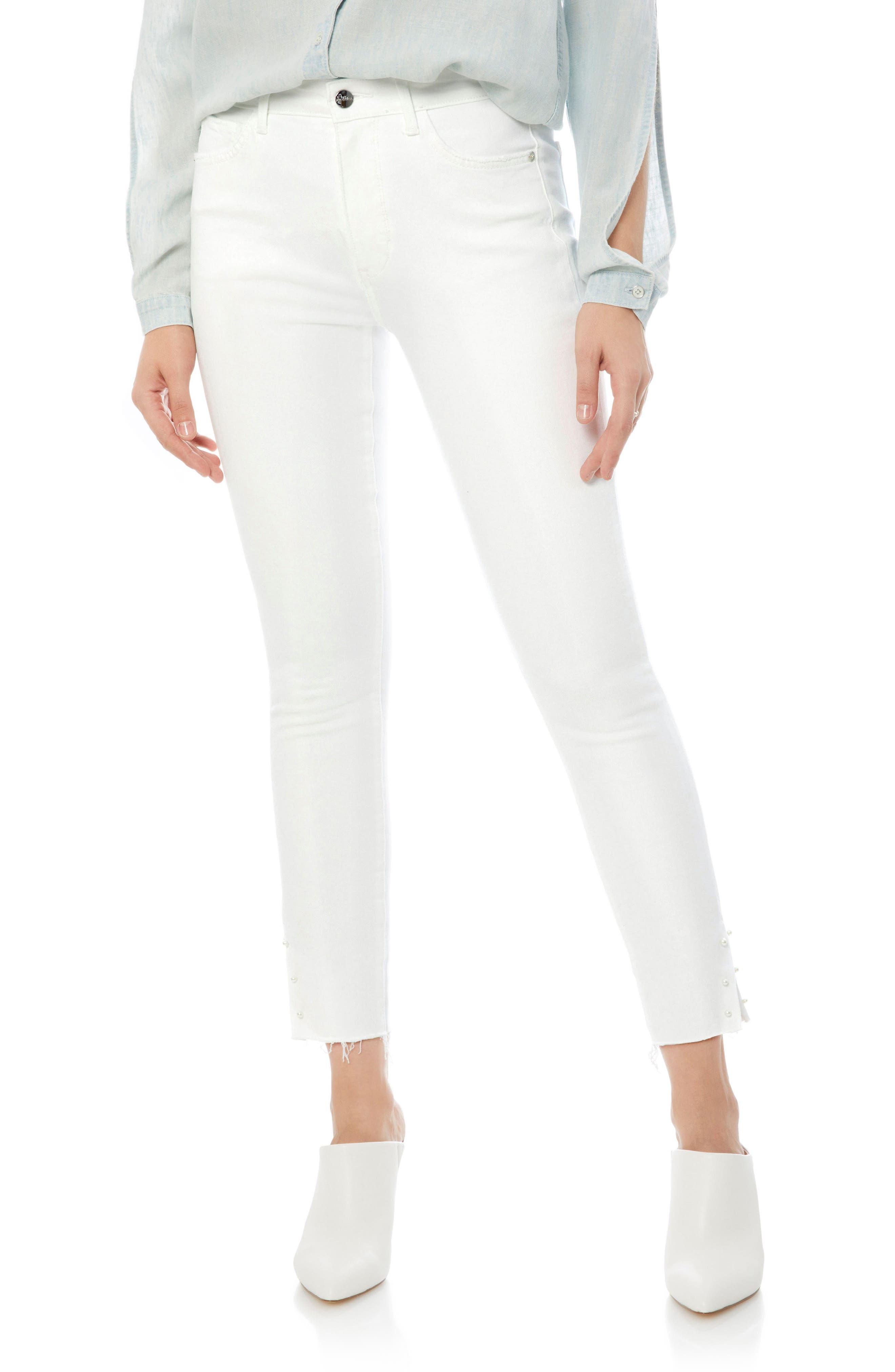 Sam Edleman Stiletto High Rise Raw Edge Skinny Jeans,                             Main thumbnail 1, color,                             Brazil