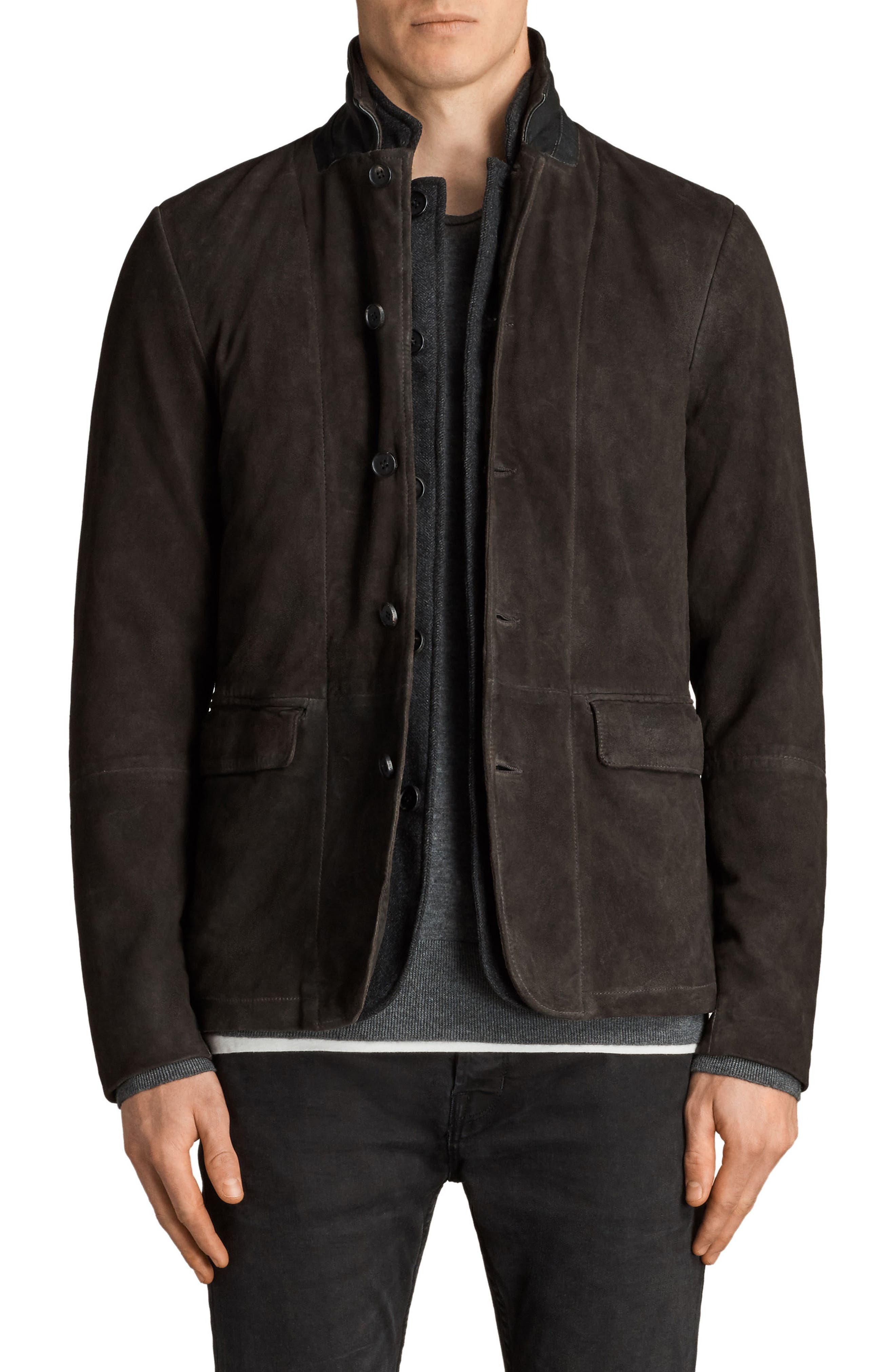 Survey Leather Blazer,                             Main thumbnail 1, color,                             Anthracite Grey