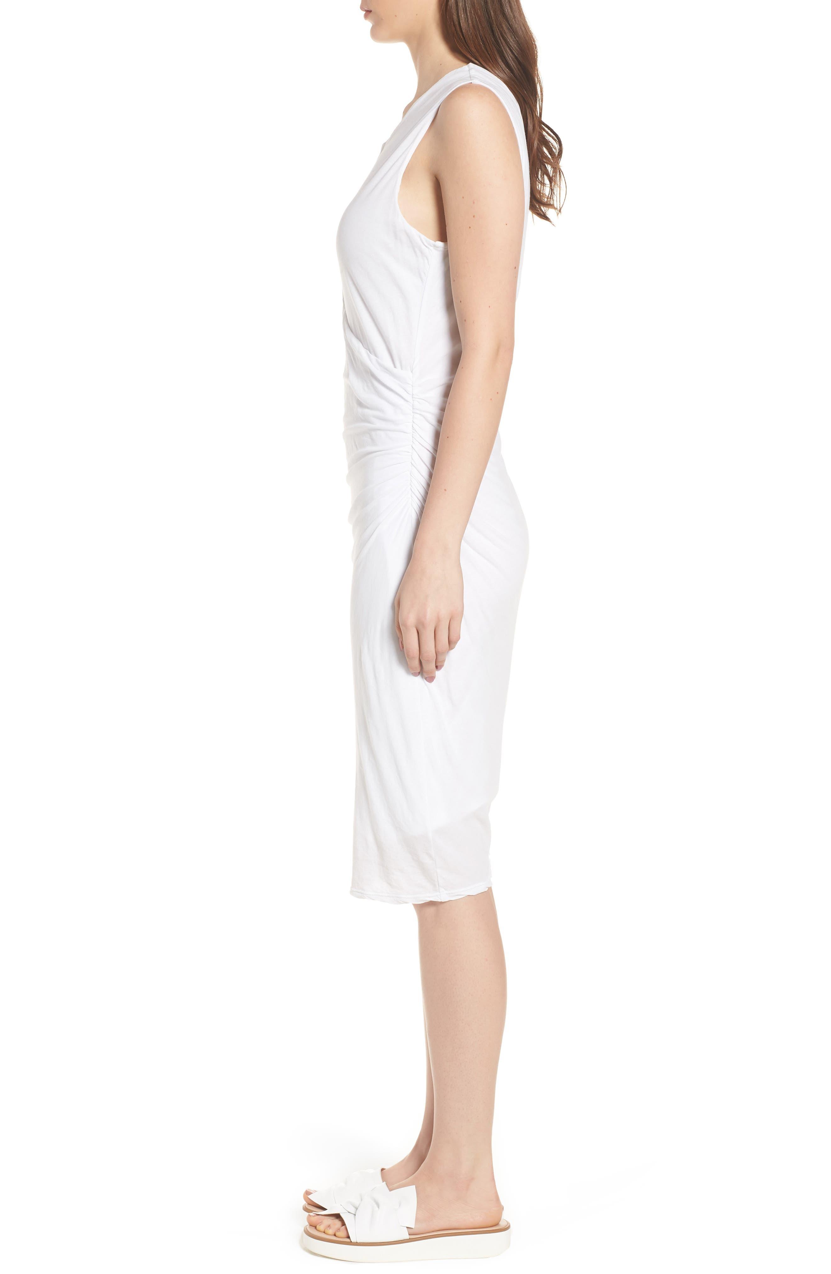 Shirred Midi Dress,                             Alternate thumbnail 4, color,                             White