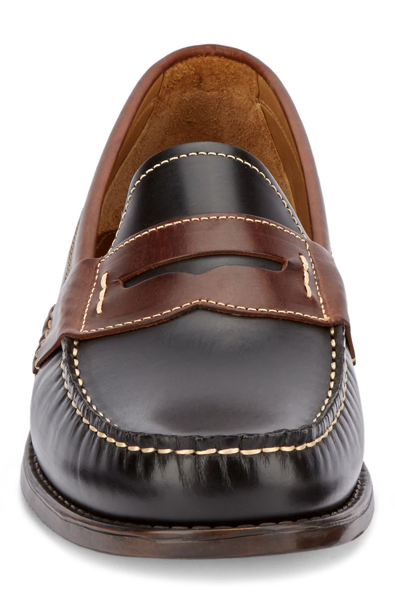 Wagner Penny Loafer,                             Alternate thumbnail 4, color,                             Black/ Dark Brown Leather