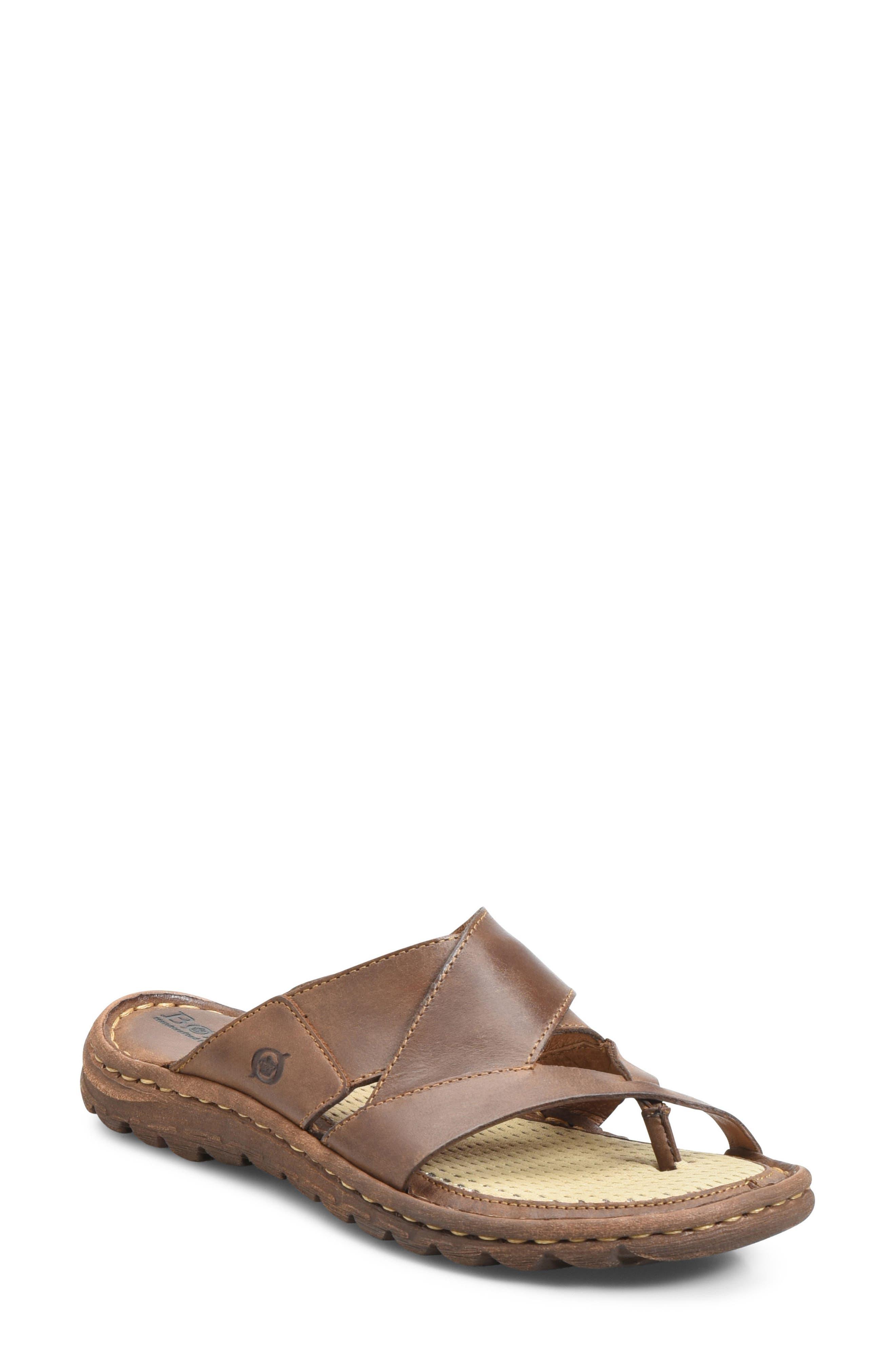 'Sorja' Leather Sandal,                             Main thumbnail 1, color,                             Dark Brown Leather