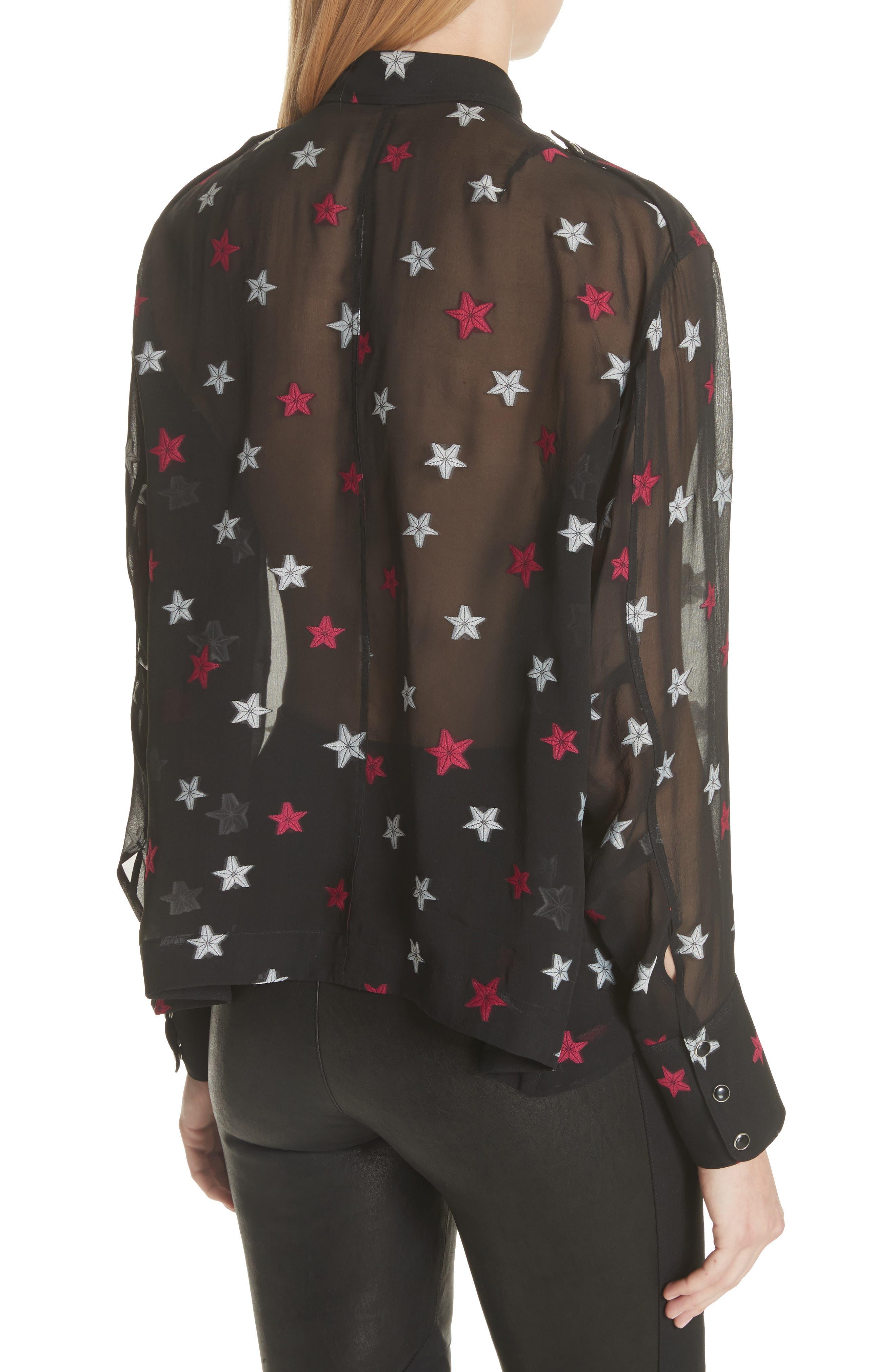 Pearson Star Print Silk Blend Shirt,                             Alternate thumbnail 3, color,                             Black Multi