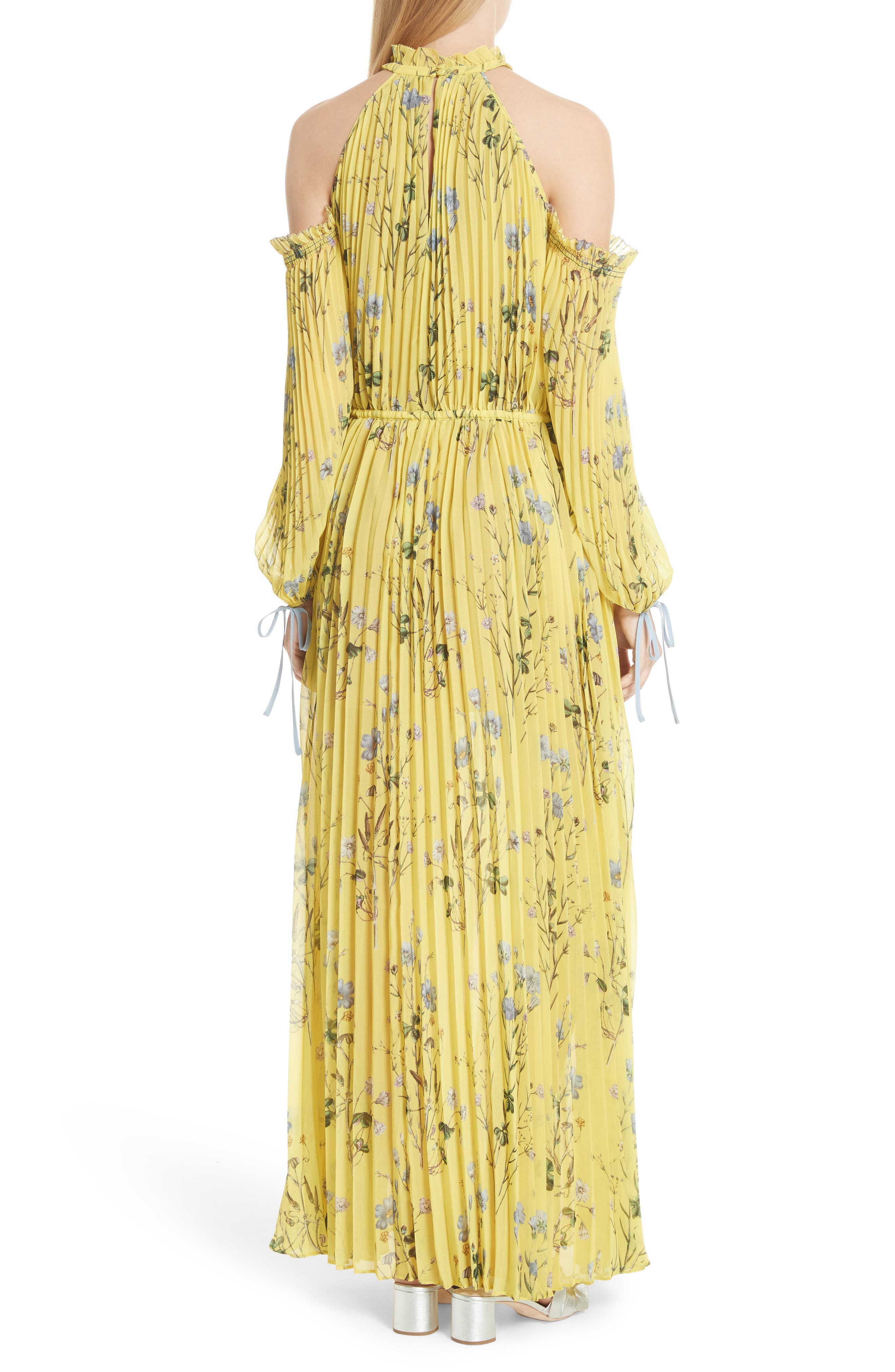 Floral Pleated Cold Shoulder Maxi Dress,                             Alternate thumbnail 2, color,                             Yellow