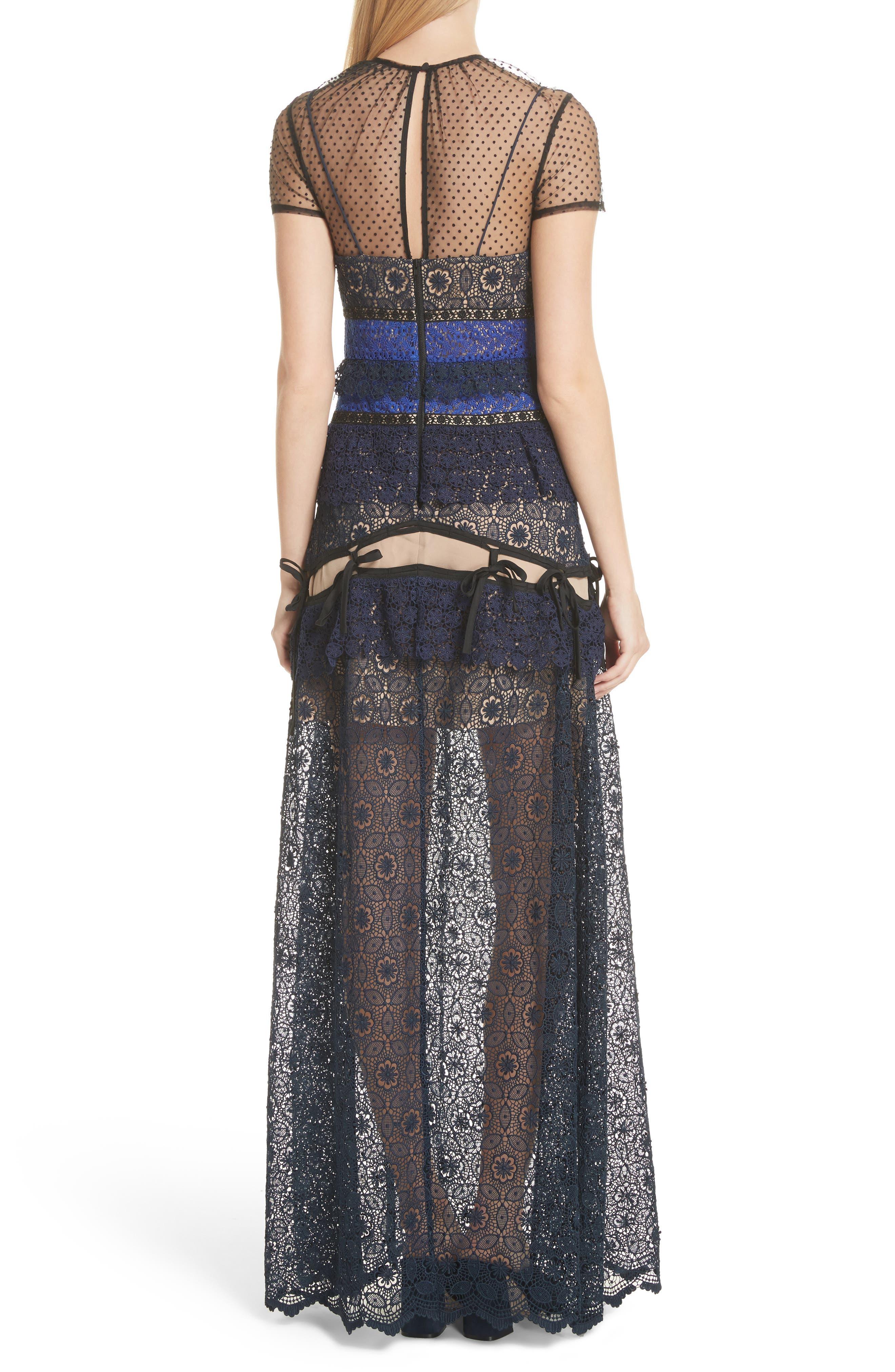 Paneled Lace Maxi Dress,                             Alternate thumbnail 2, color,                             Navy
