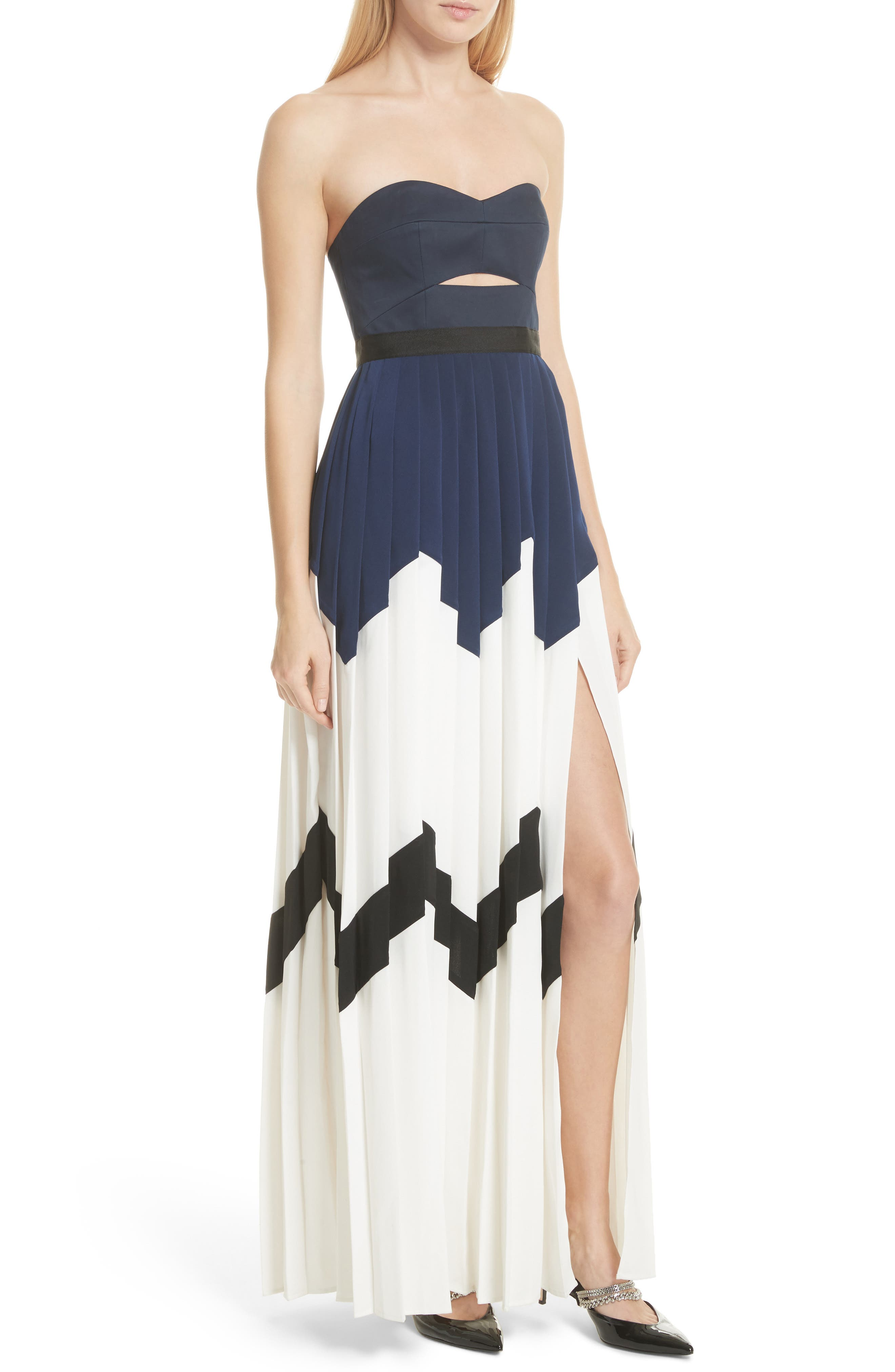 Pleated Bandeau Strapless Maxi Dress,                             Alternate thumbnail 4, color,                             Navy/ White