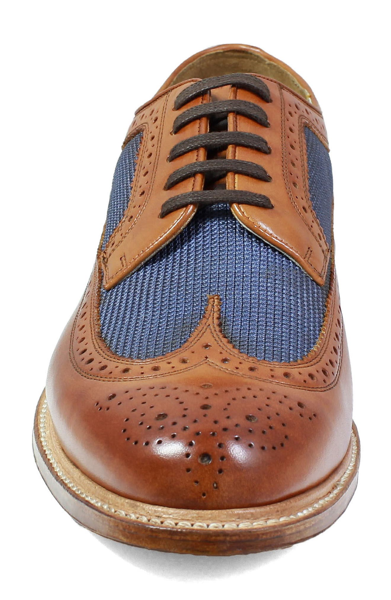 'Heritage' Wingtip,                             Alternate thumbnail 4, color,                             Cognac Leather/ Mesh