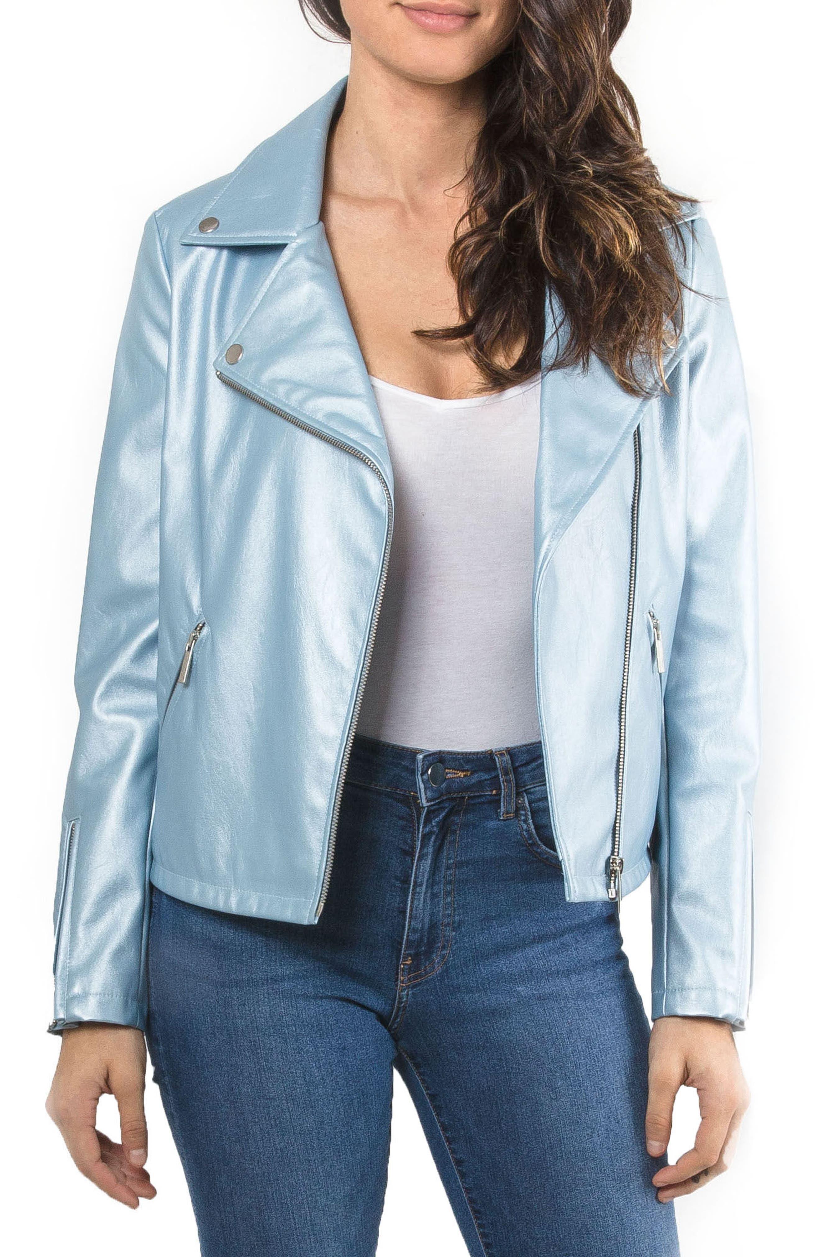 Metallic Faux Leather Biker Jacket,                             Main thumbnail 1, color,                             Pearl Blue