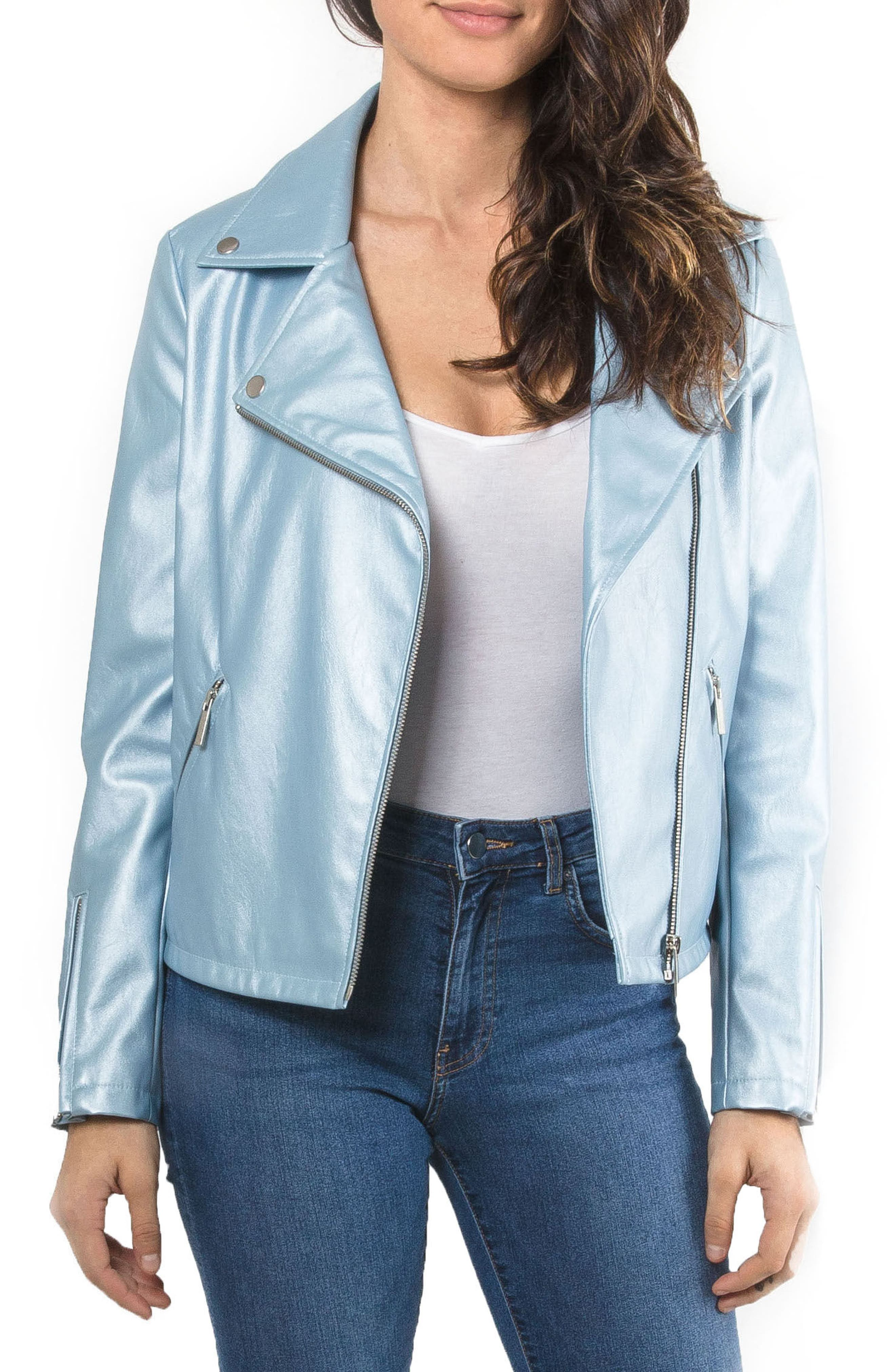 Metallic Faux Leather Biker Jacket,                         Main,                         color, Pearl Blue