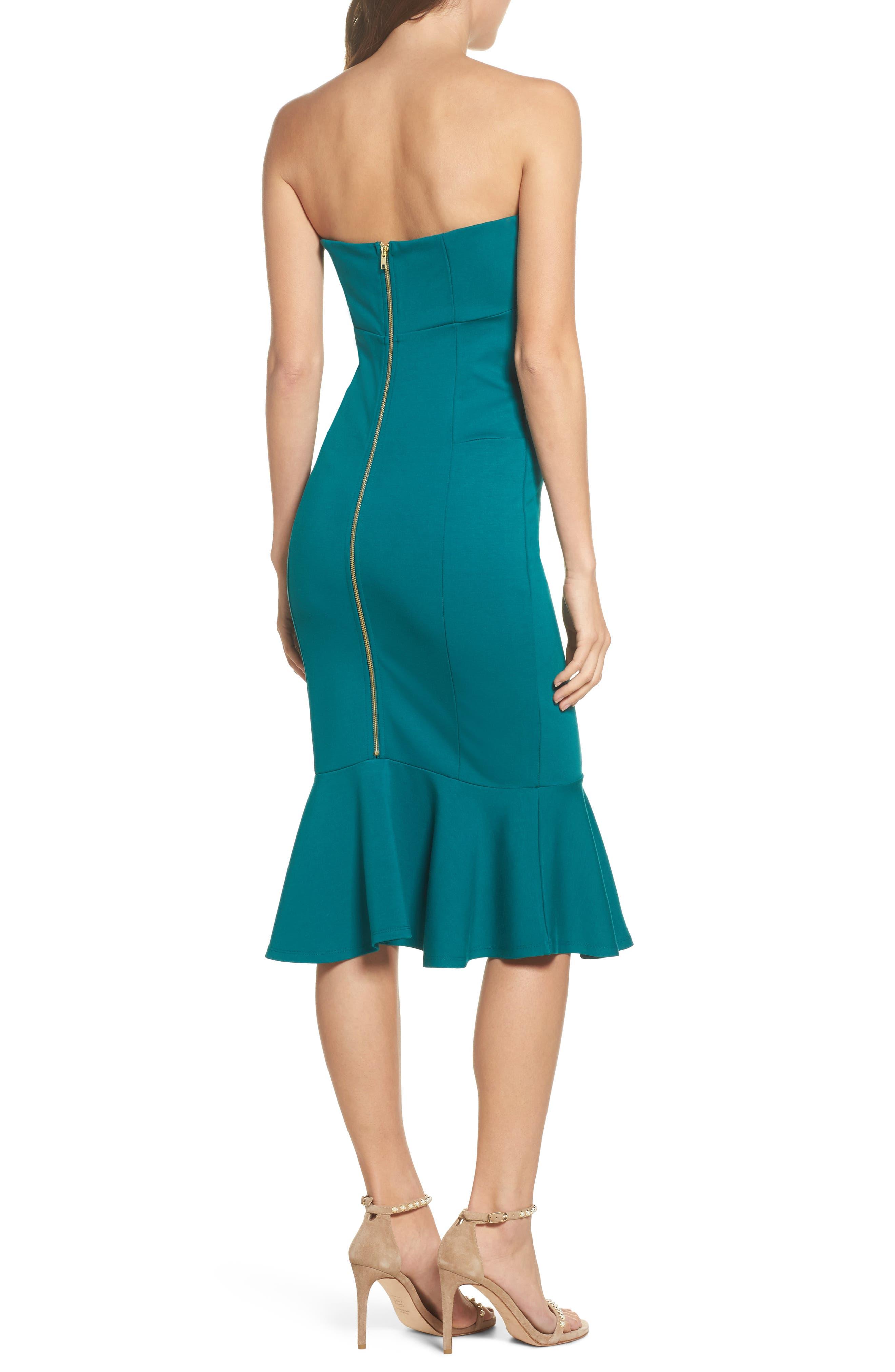 Zabrina Strapless Dress,                             Alternate thumbnail 2, color,                             Jade