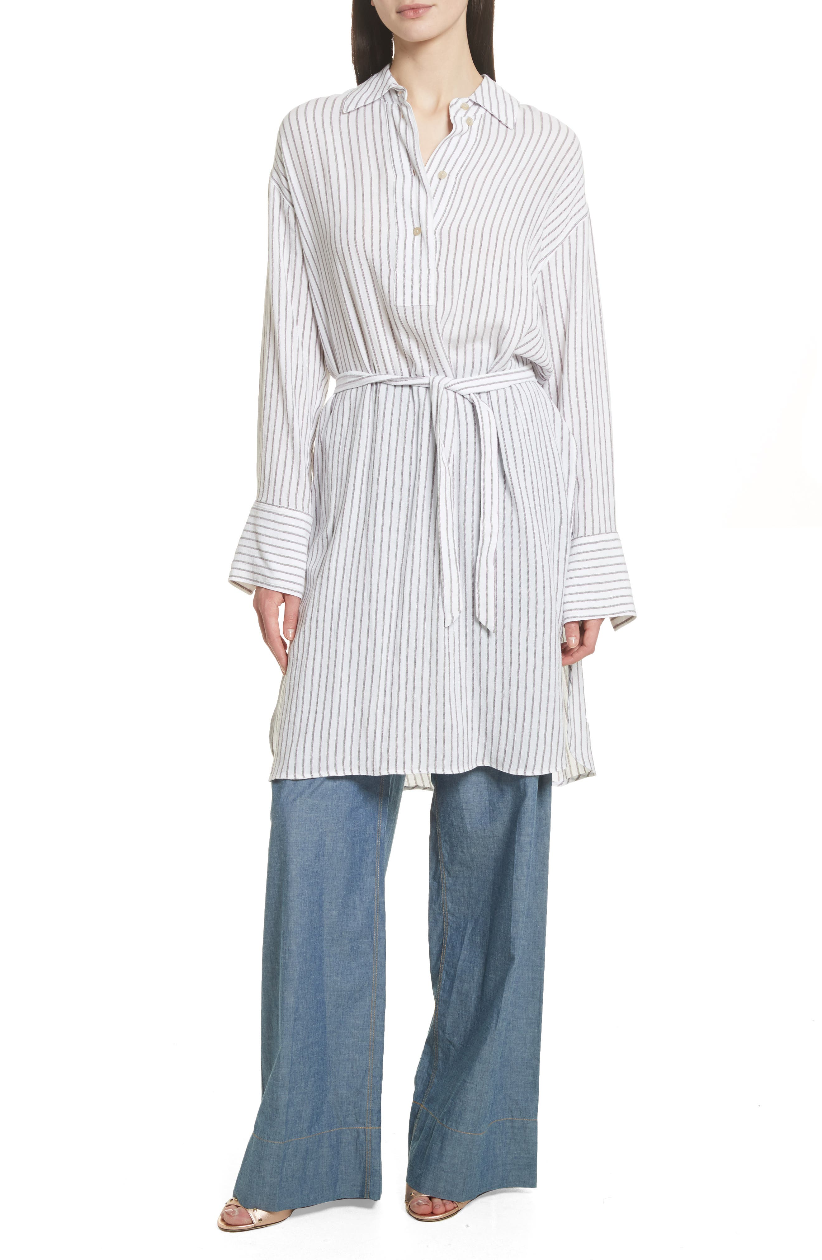 Tawerence Stripe Belted Tunic,                             Alternate thumbnail 8, color,                             Multi