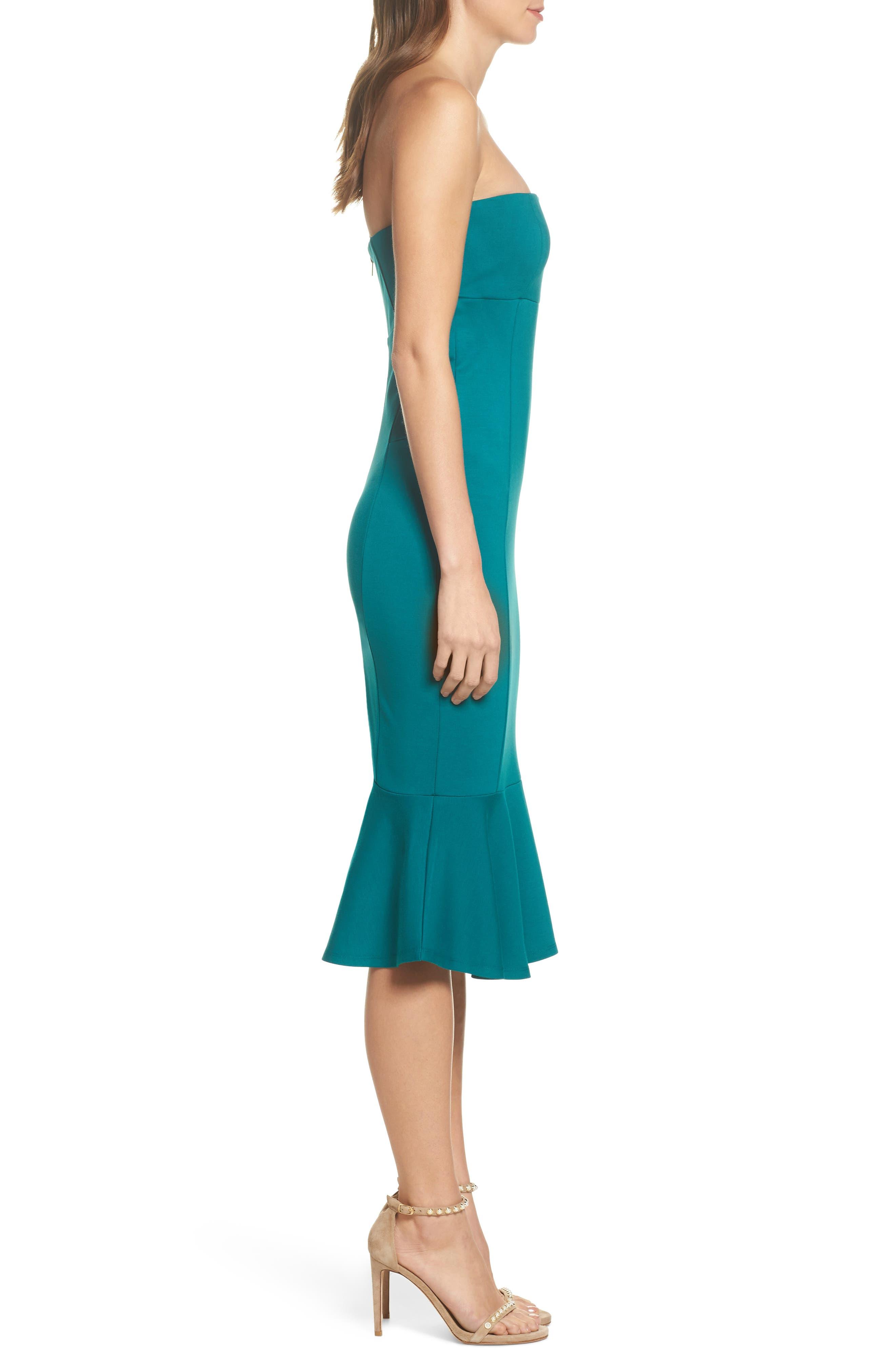 Zabrina Strapless Dress,                             Alternate thumbnail 3, color,                             Jade