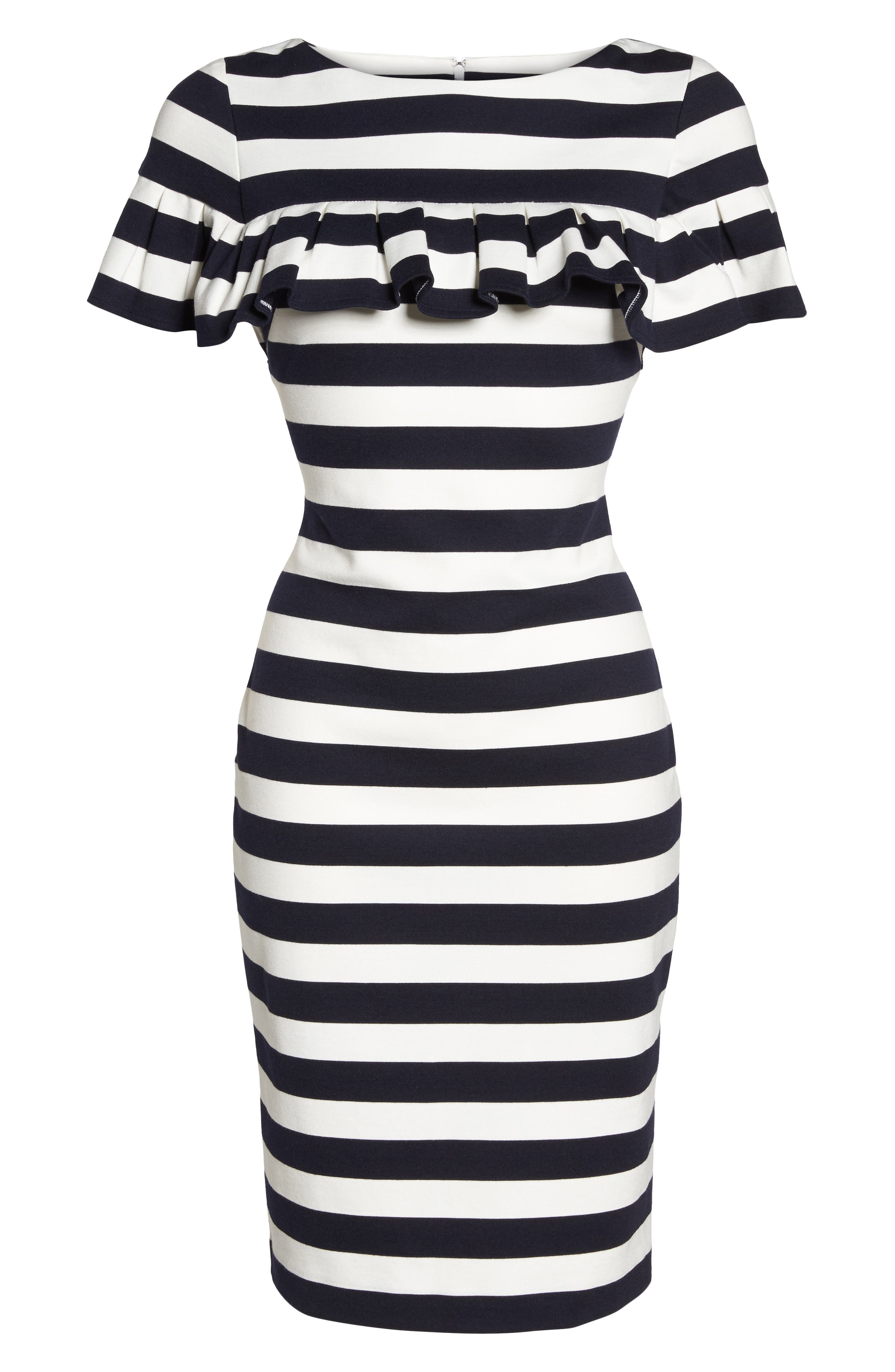 Stripe Ruffle Sheath Dress,                             Alternate thumbnail 6, color,                             Navy/ Ivory