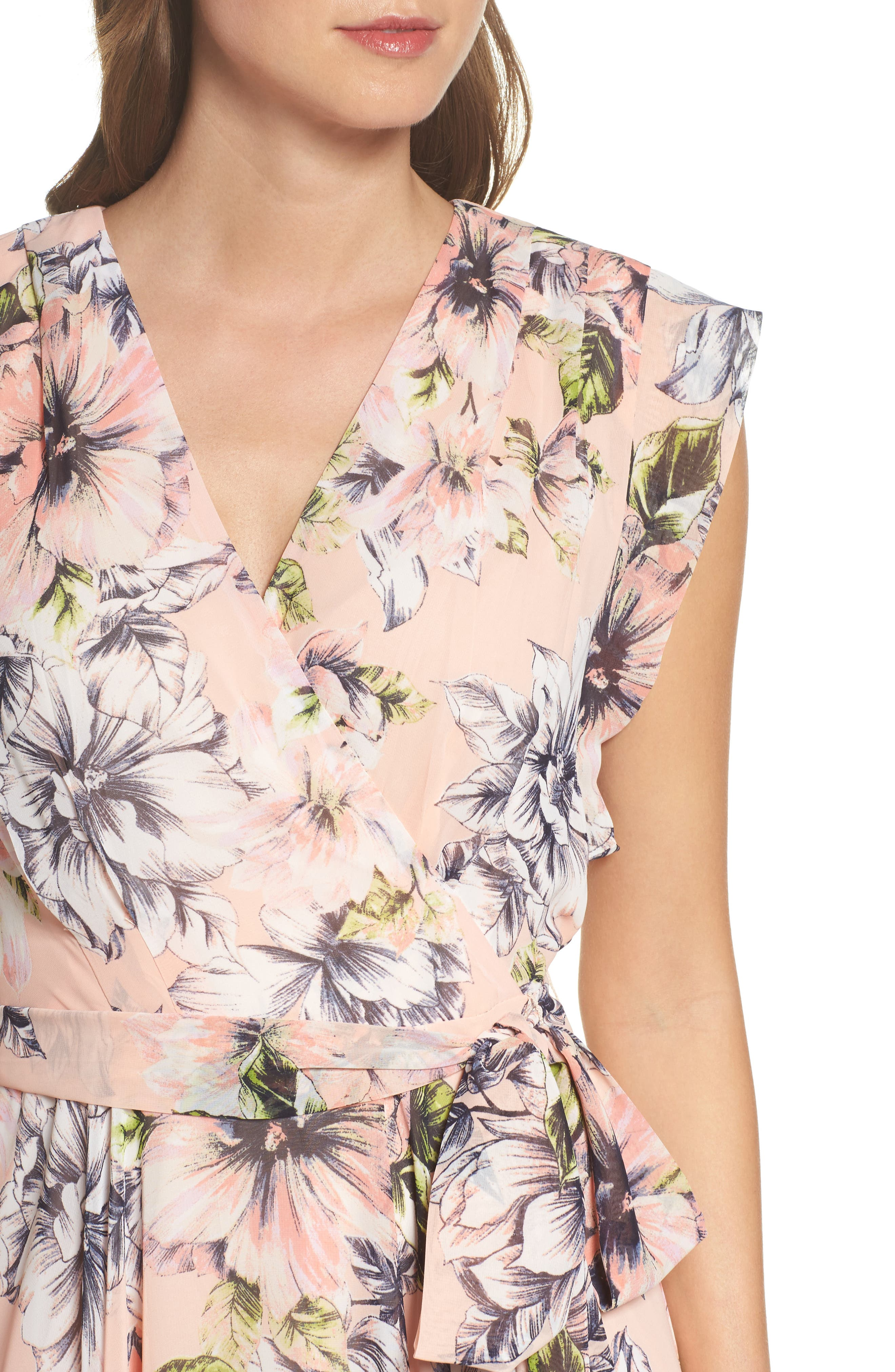 Floral Ruffle High/Low Maxi Dress,                             Alternate thumbnail 4, color,                             Blush