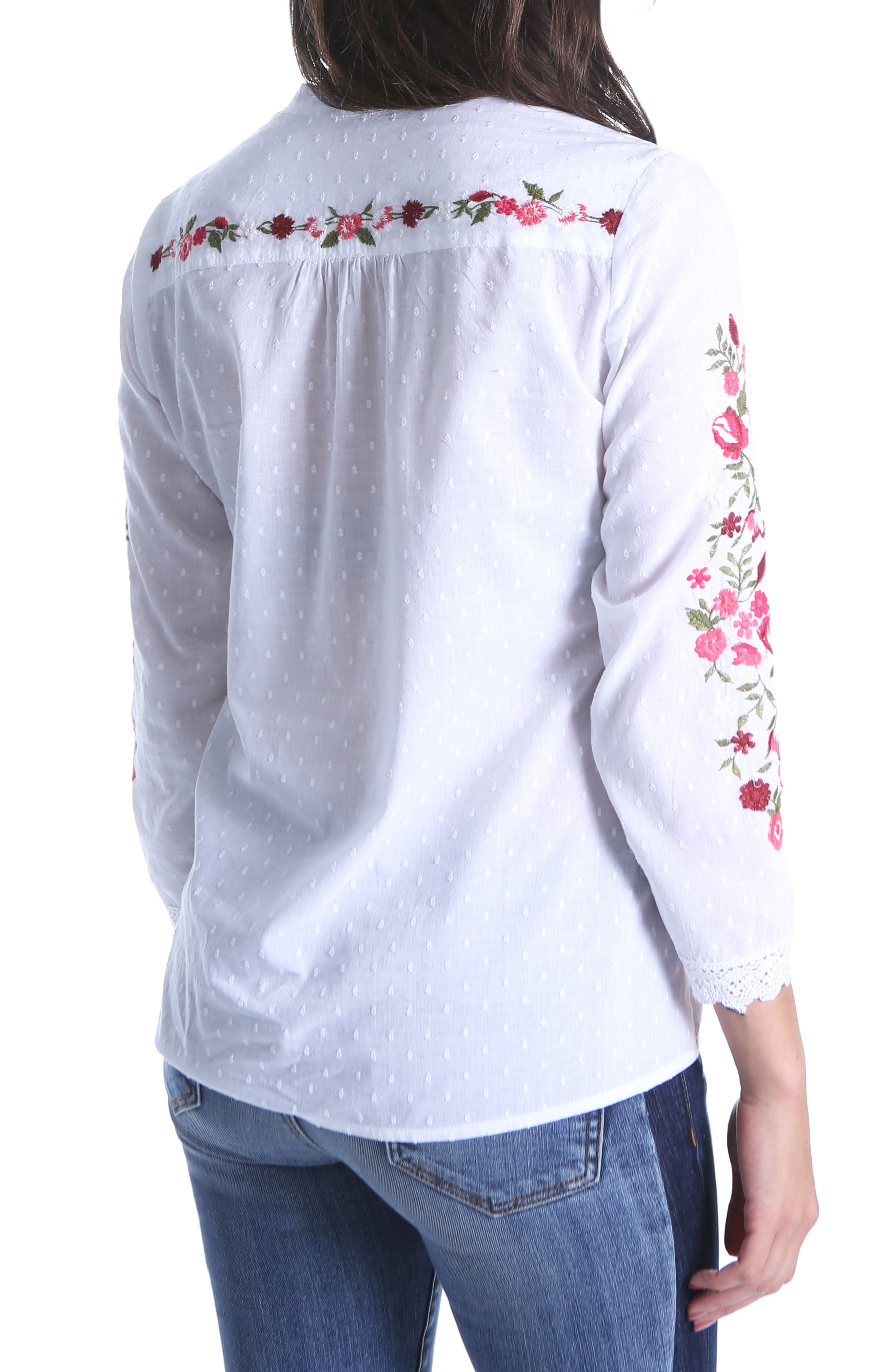 Kat Embroidered Lace Detail Blouse,                             Alternate thumbnail 2, color,                             White