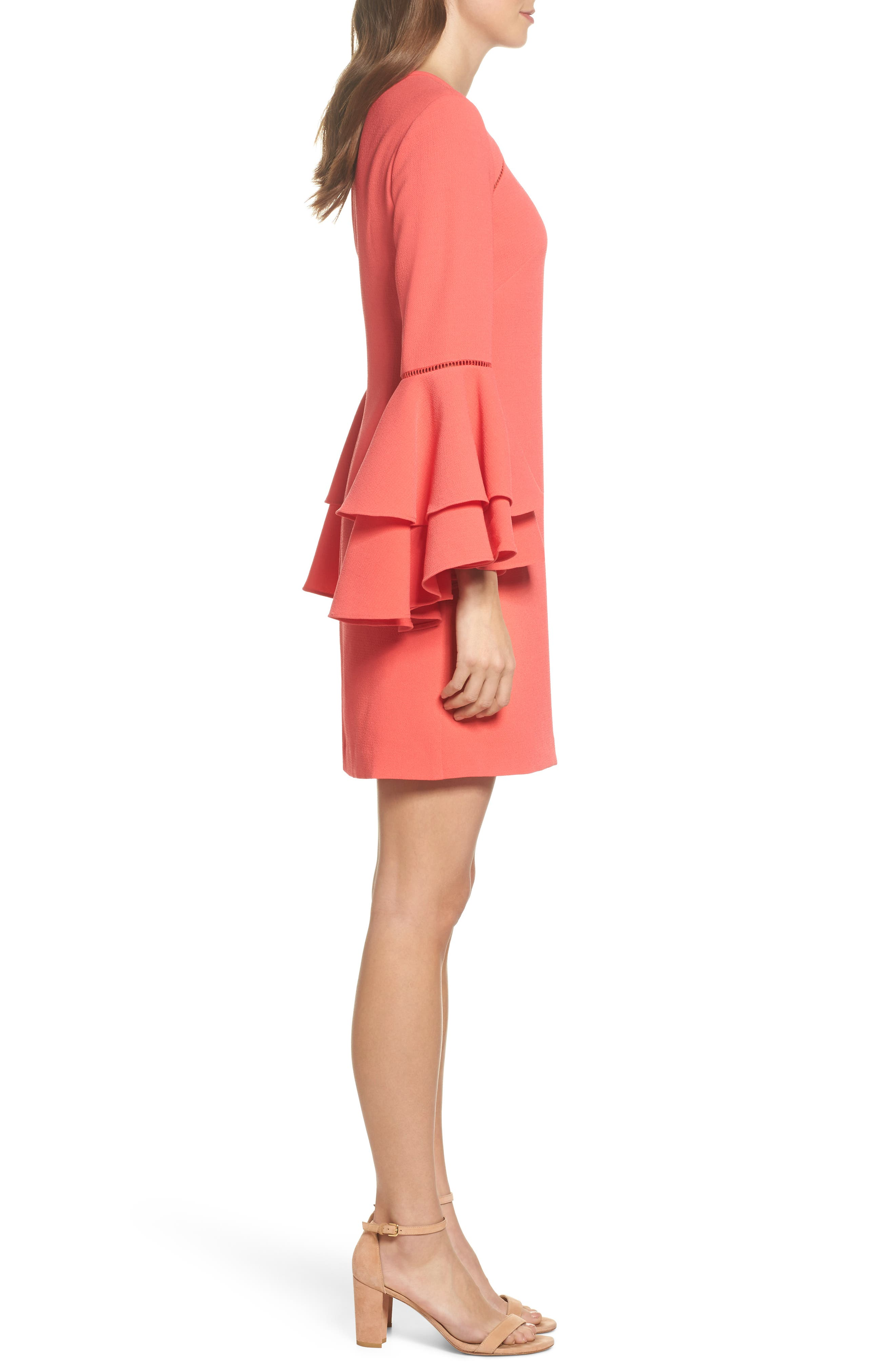Tiered Bell Sleeve Shift Dress,                             Alternate thumbnail 3, color,                             Red Hibiscus