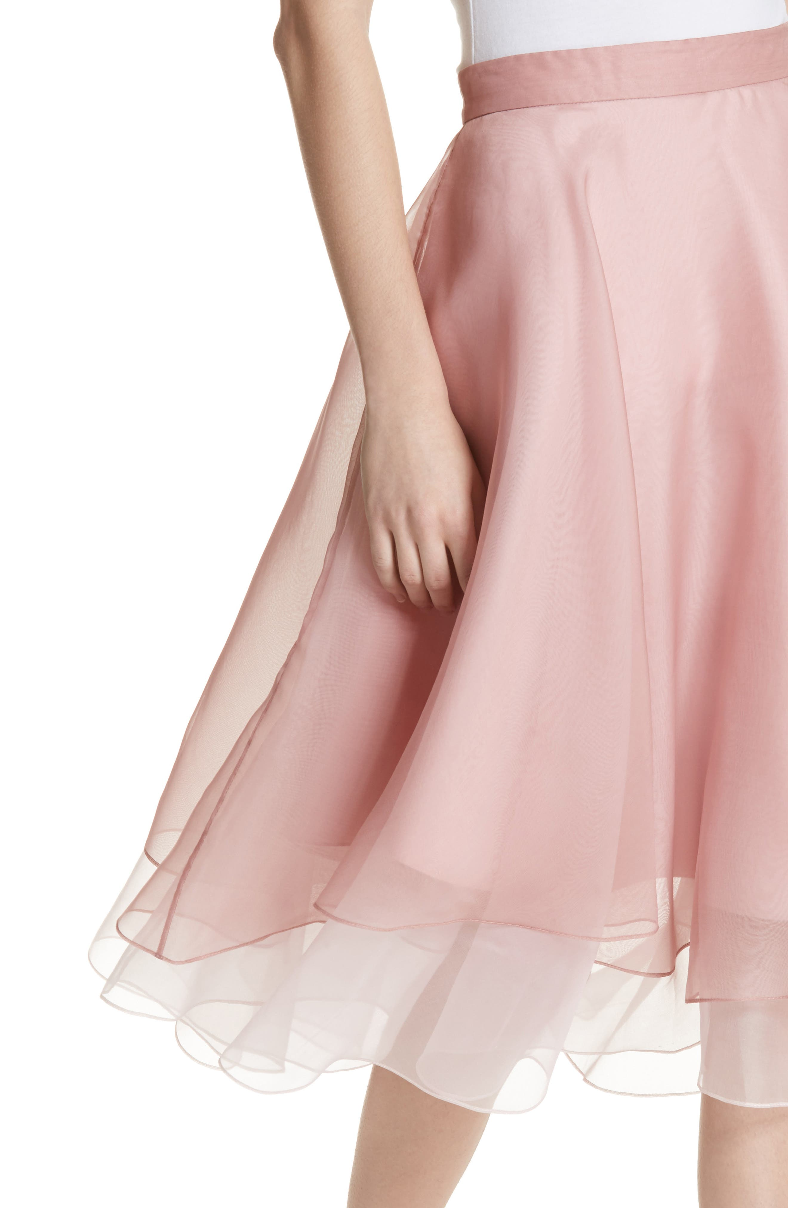 Layered Organza A-Line Skirt,                             Alternate thumbnail 4, color,                             Nude/ Petal