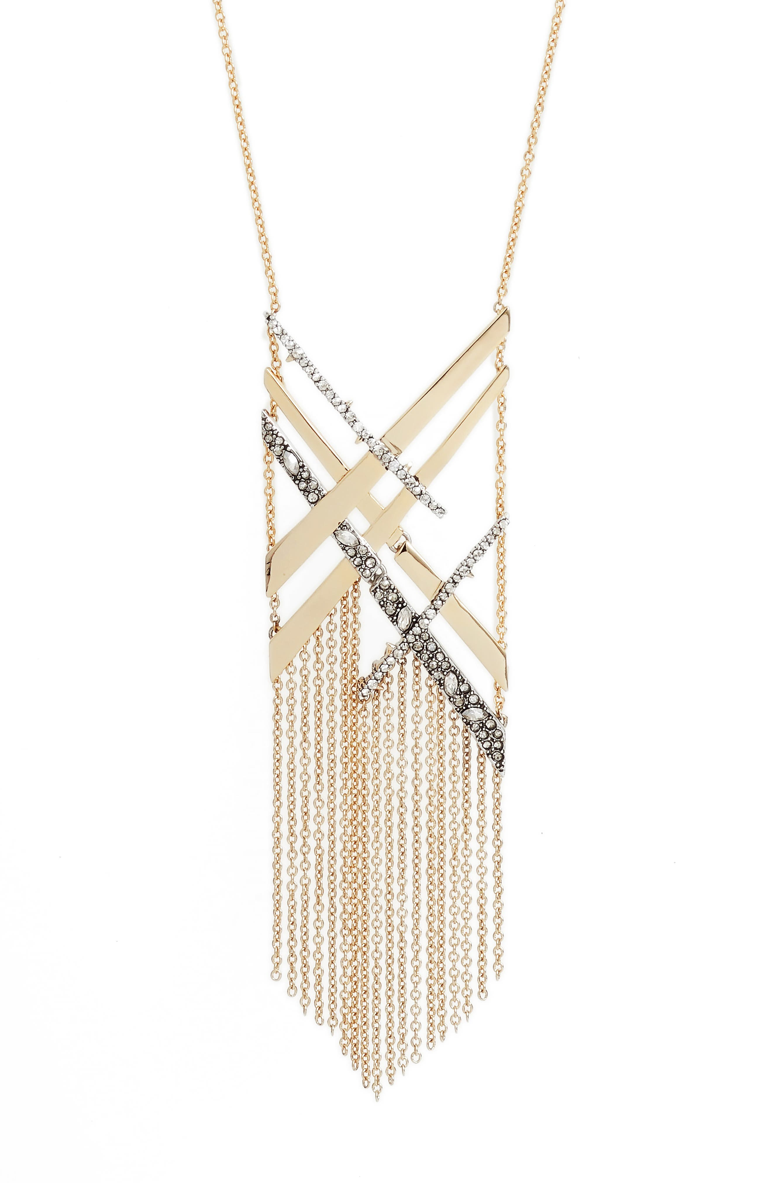 Plaid Tassel Necklace,                             Alternate thumbnail 2, color,                             Gold/ Silver