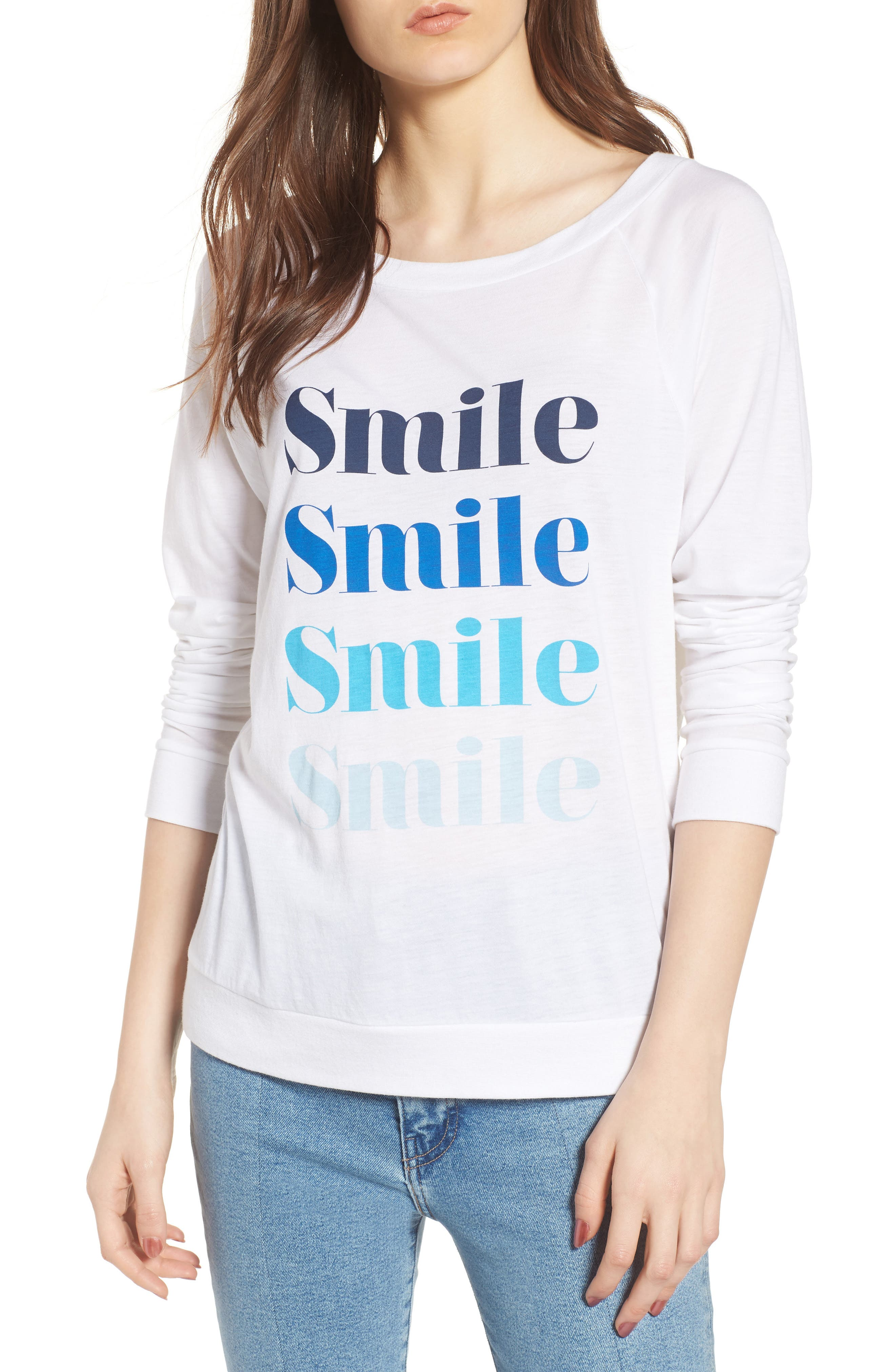 Candy - Smile Smile Pullover,                             Main thumbnail 1, color,                             White