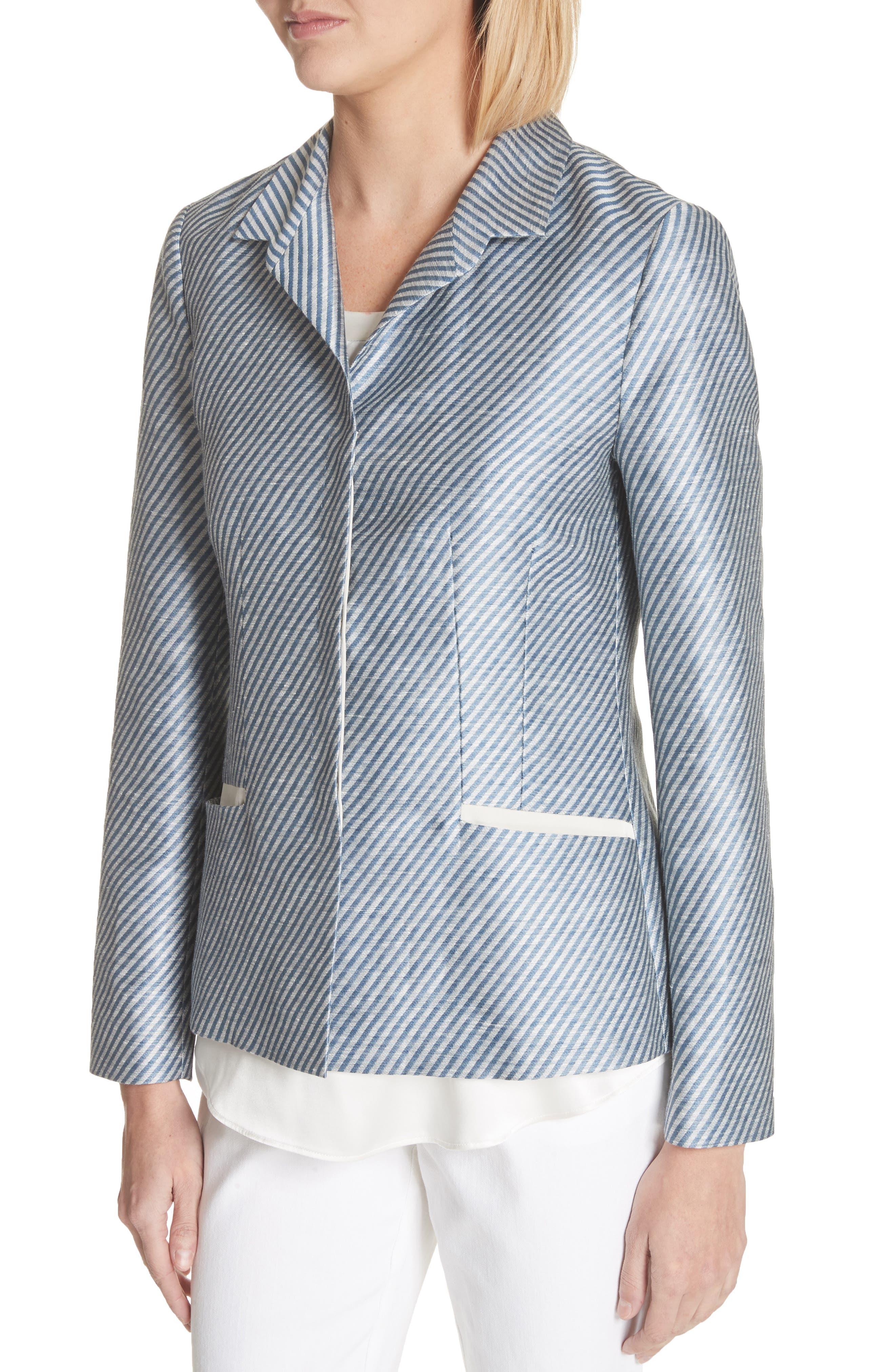 Alternate Image 4  - Lafayette 148 New York Jasmine Stripe Linen Blend Blazer
