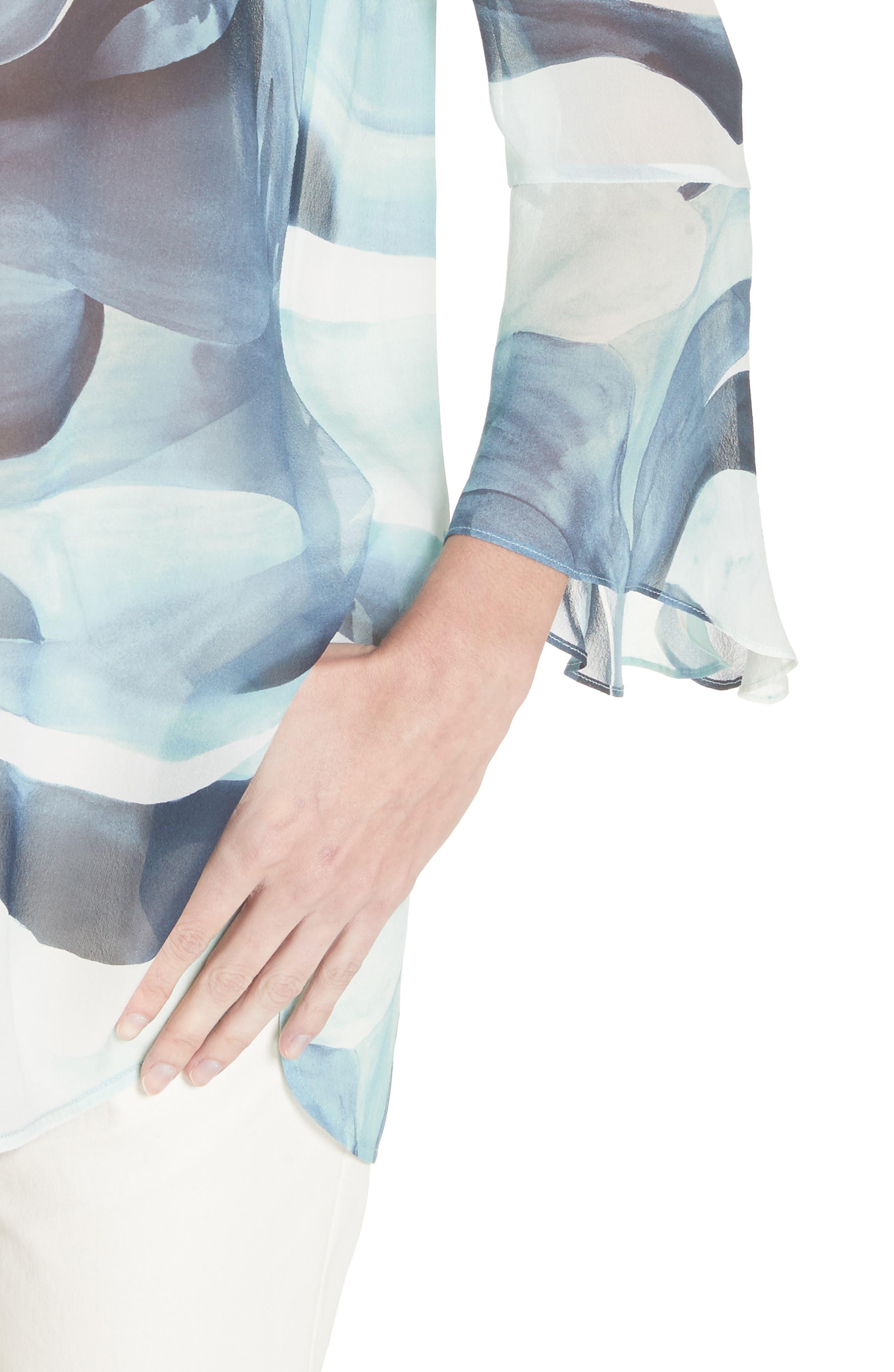 Graydon Print Silk Chiffon Blouse,                             Alternate thumbnail 4, color,                             Herbal Mist Multi