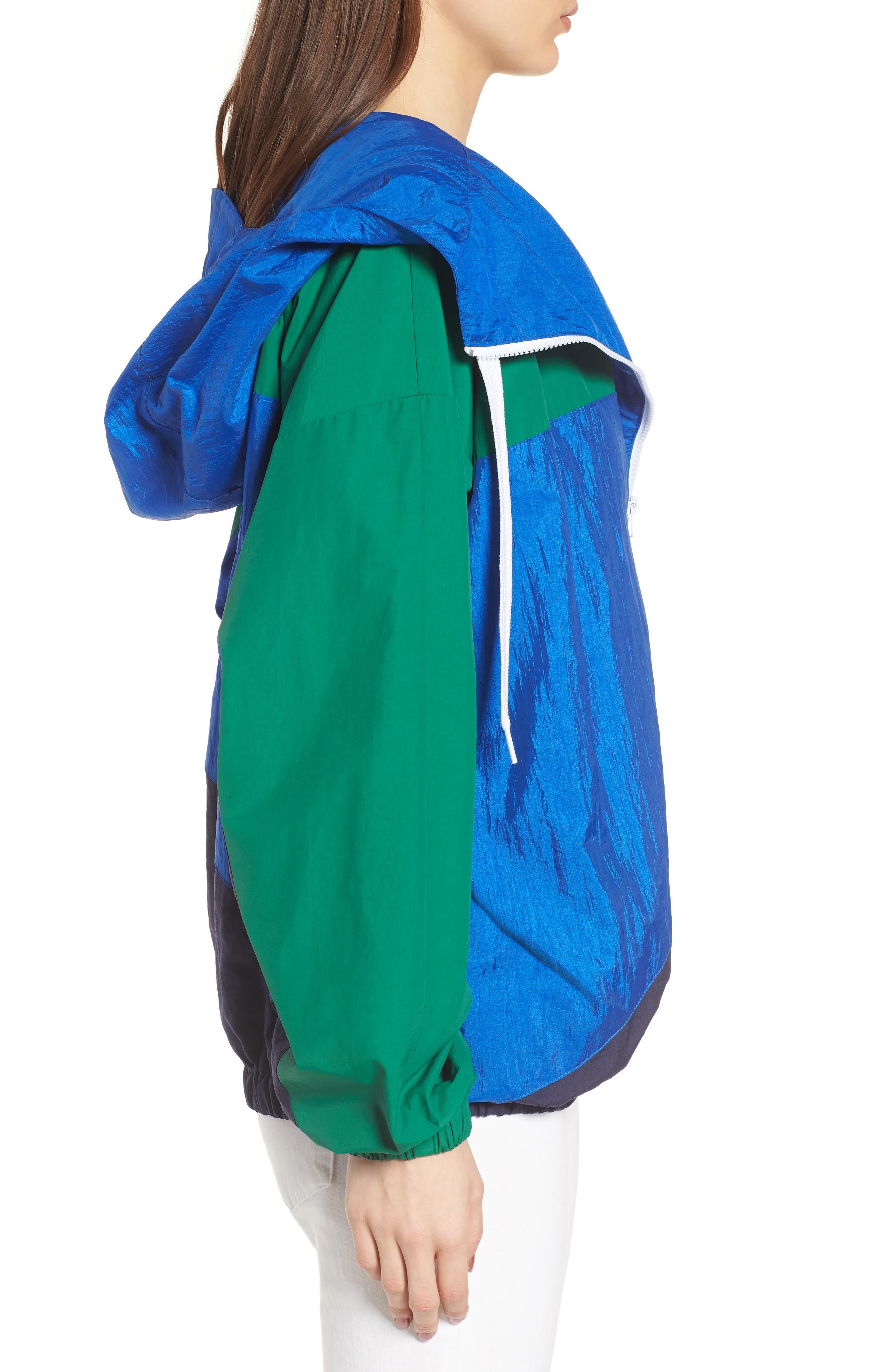 Colorblock Windbreaker Jacket,                             Alternate thumbnail 4, color,                             Green/ Blue