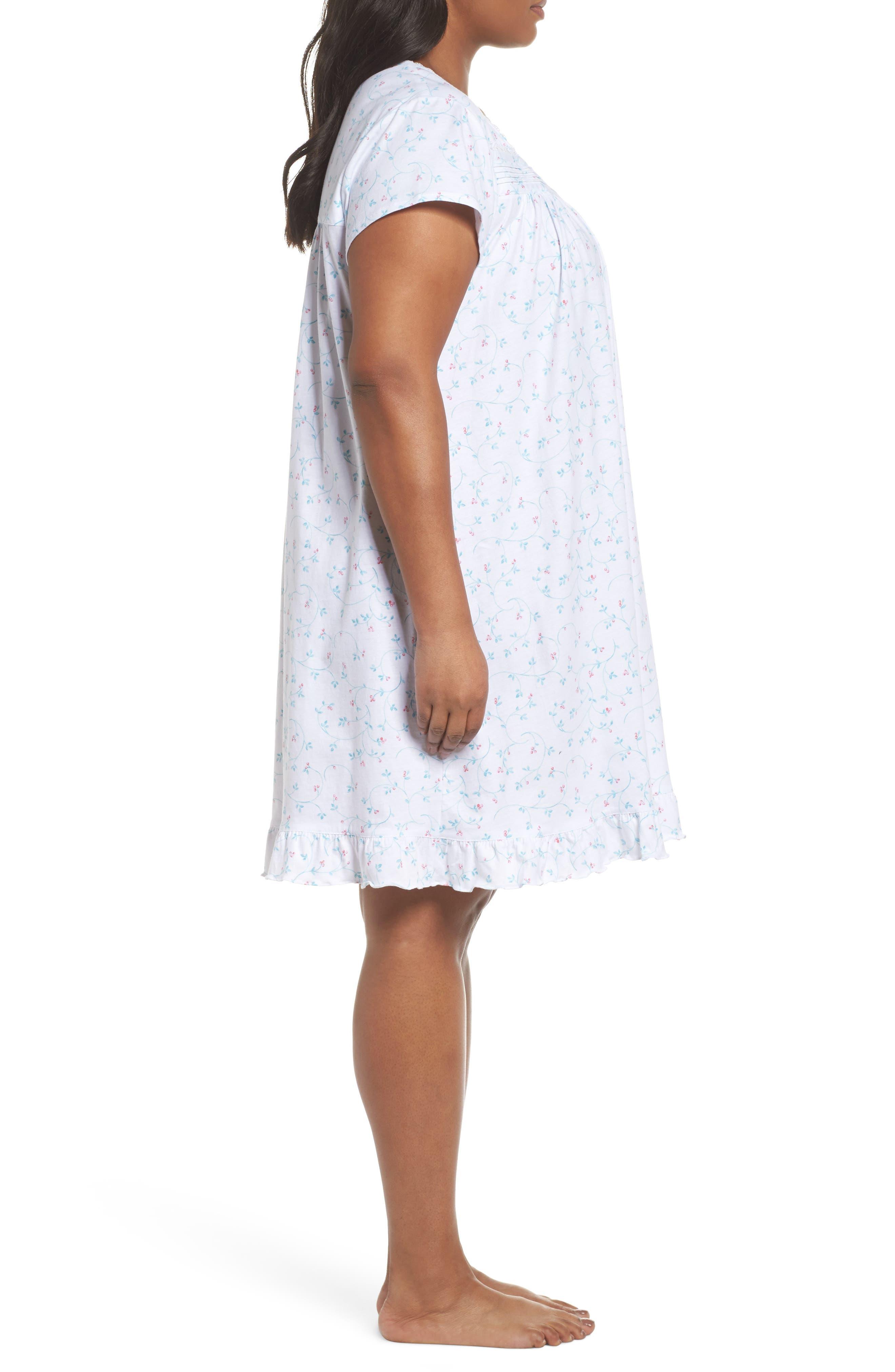Cotton Jersey Short Nightgown,                             Alternate thumbnail 3, color,                             White Aqua/ Pink Berries