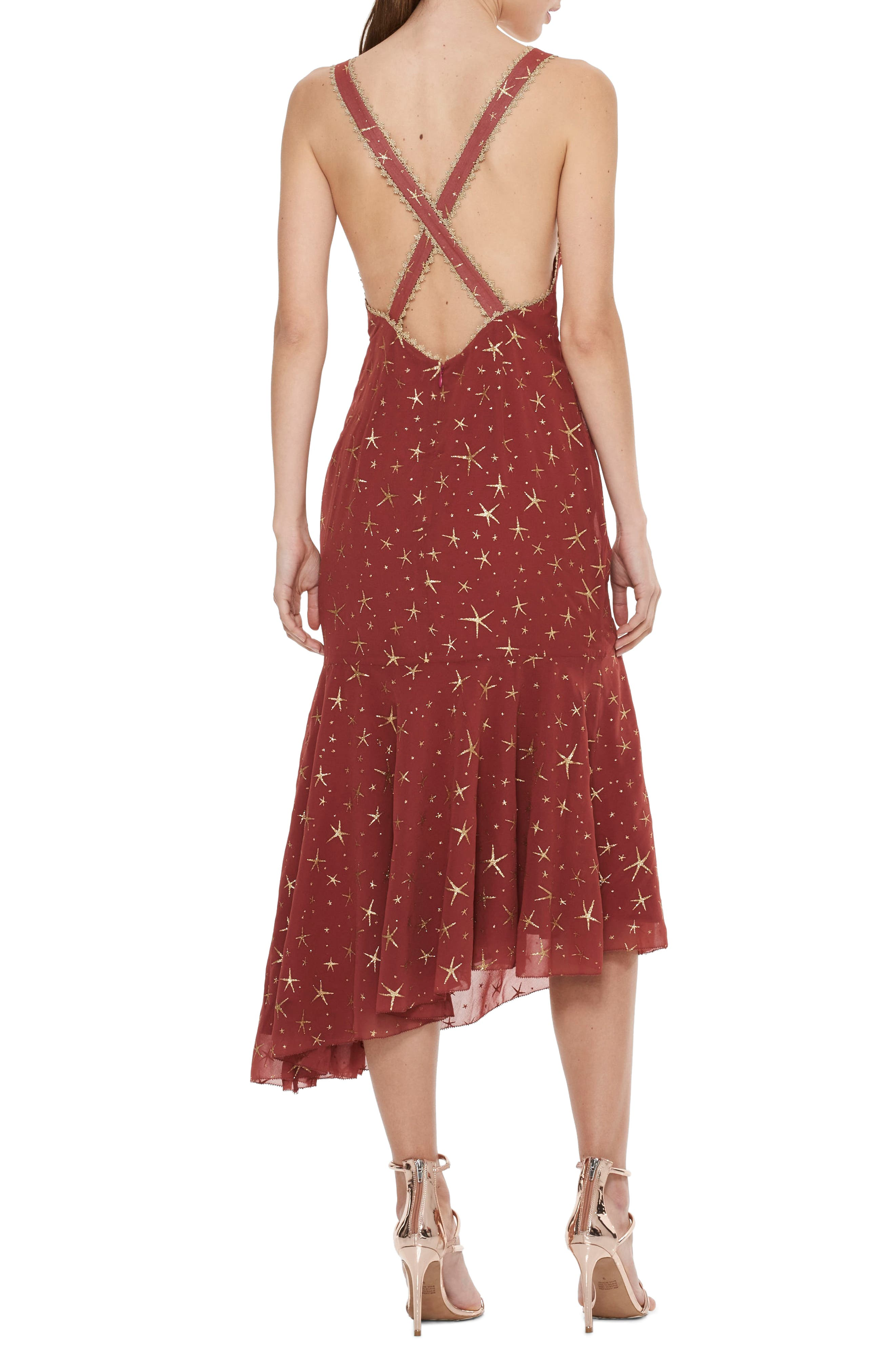 Stay Together Asymmetric Midi Dress,                             Alternate thumbnail 2, color,                             Wine And Gold