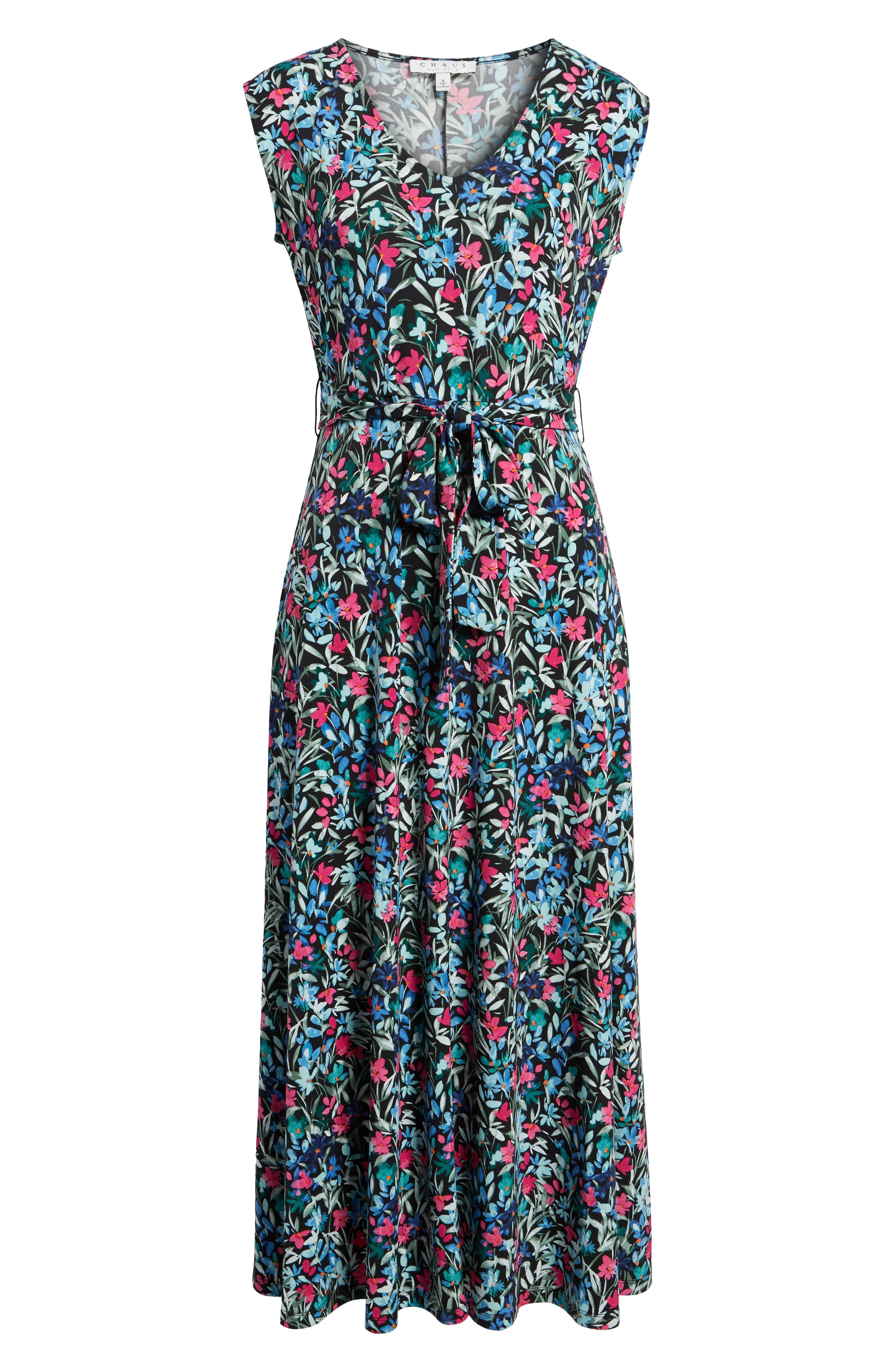 Radiant Flowers Sleeveless Tie Waist Dress,                             Alternate thumbnail 6, color,                             060-Rich Black