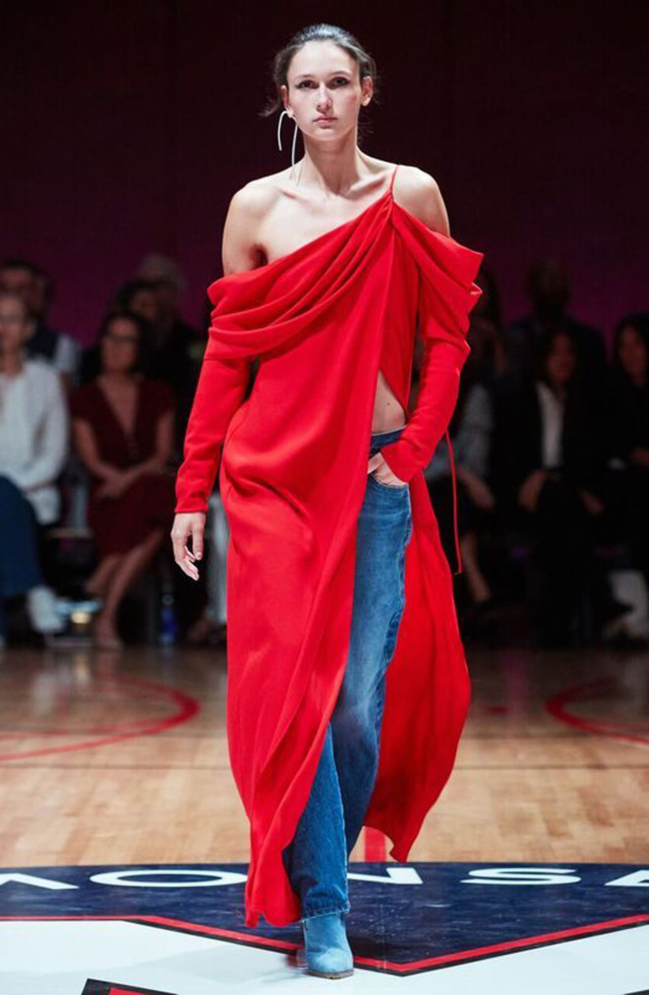 Cowl Sleeve Gown,                             Alternate thumbnail 10, color,                             Red