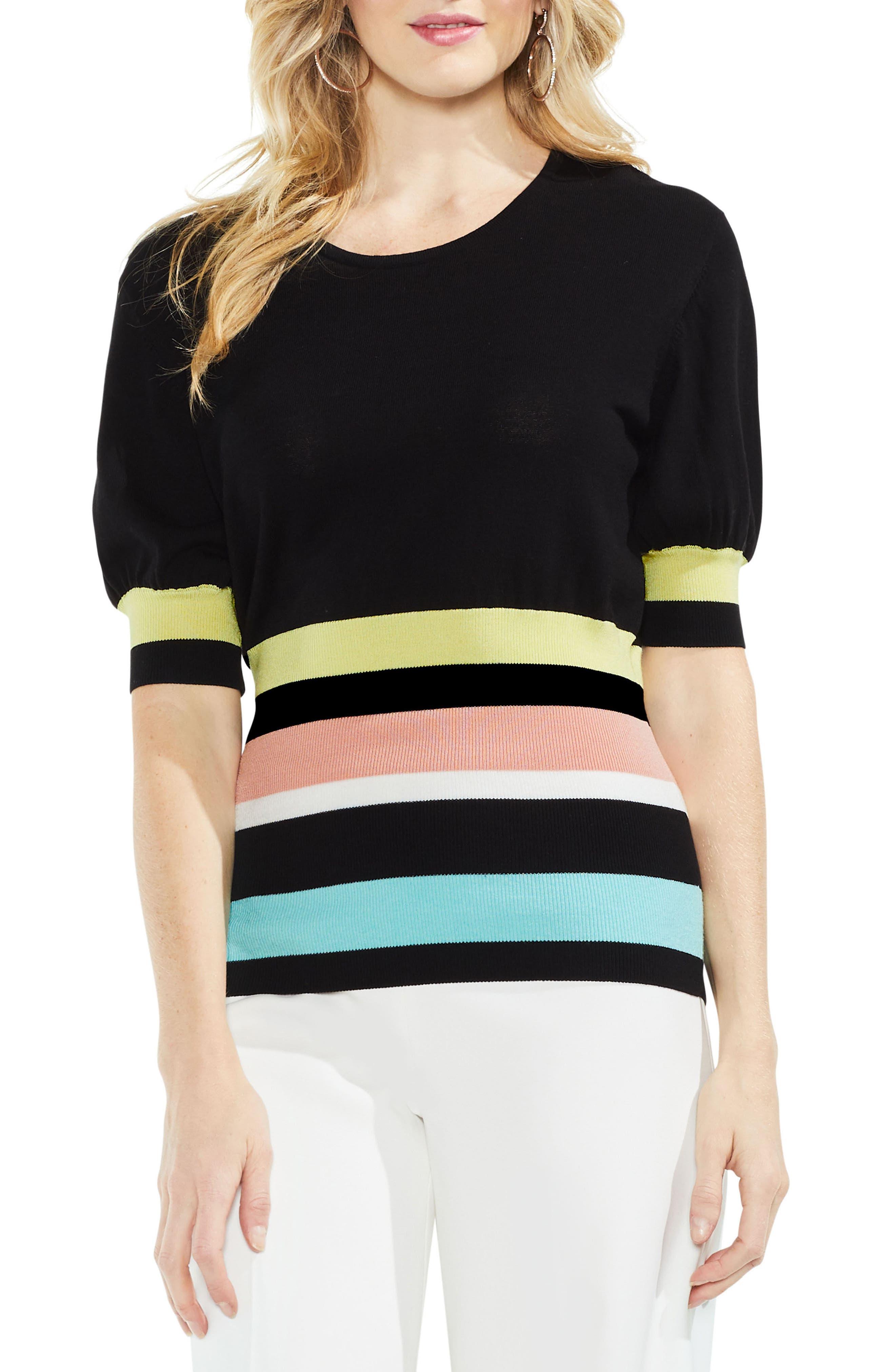 Elbow Bubble Sleeve Colorblock Sweater,                         Main,                         color, Rich Black