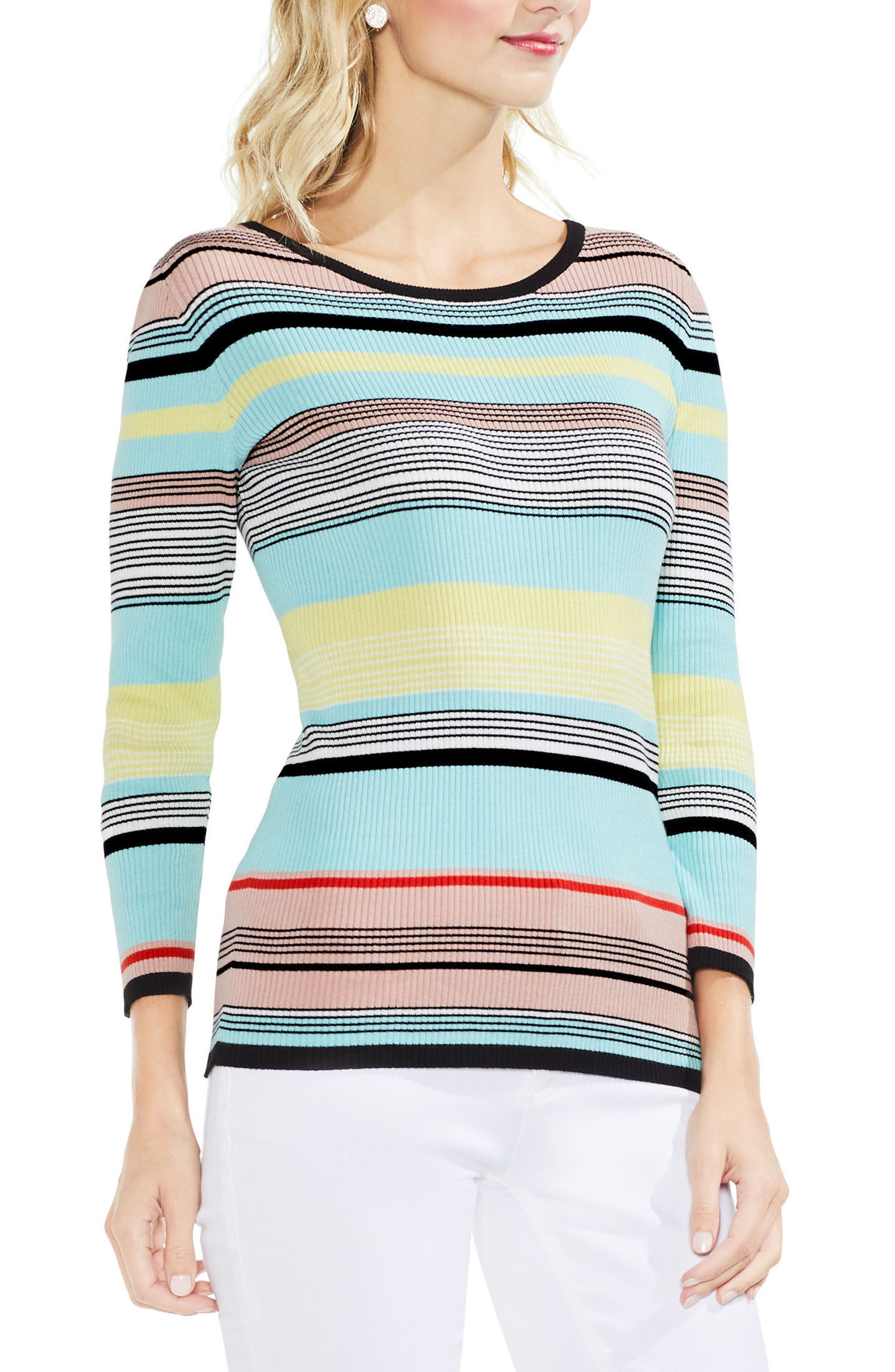 Colorblock Ribbed Sweater,                         Main,                         color, Rich Black