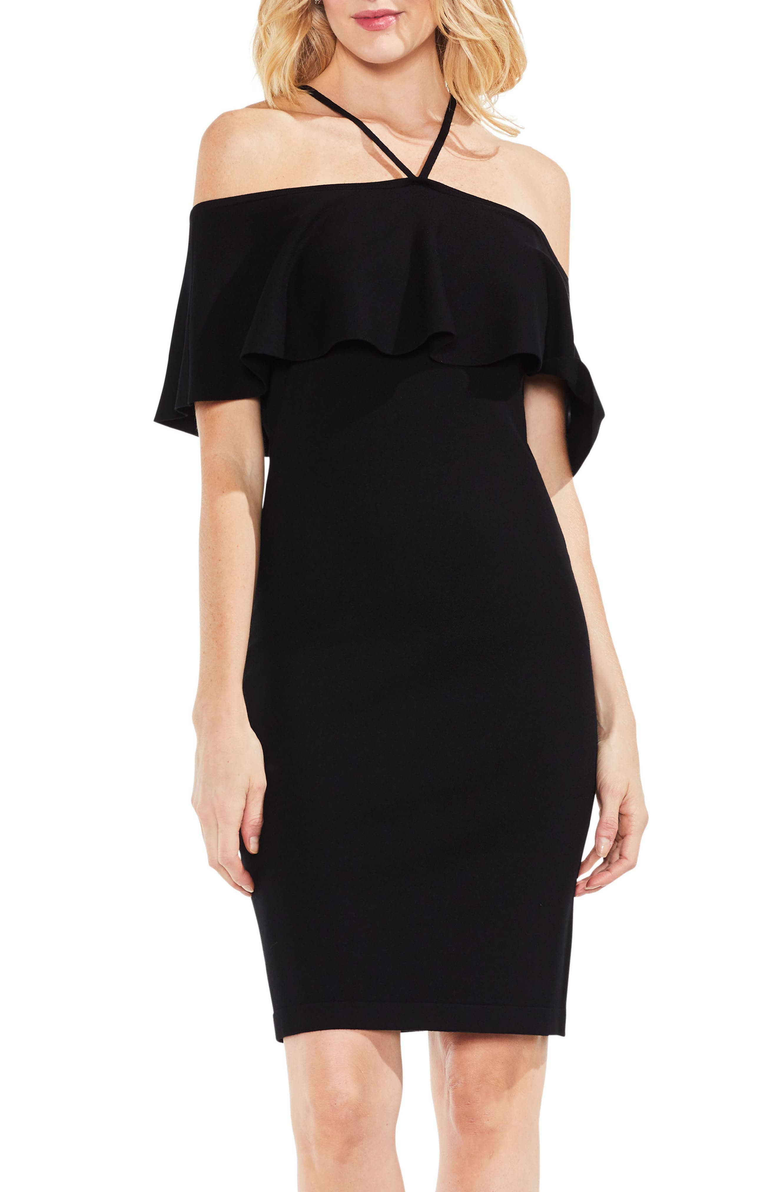 Ruffle Cold Shoulder Halter Sweater Dress,                         Main,                         color, Rich Black