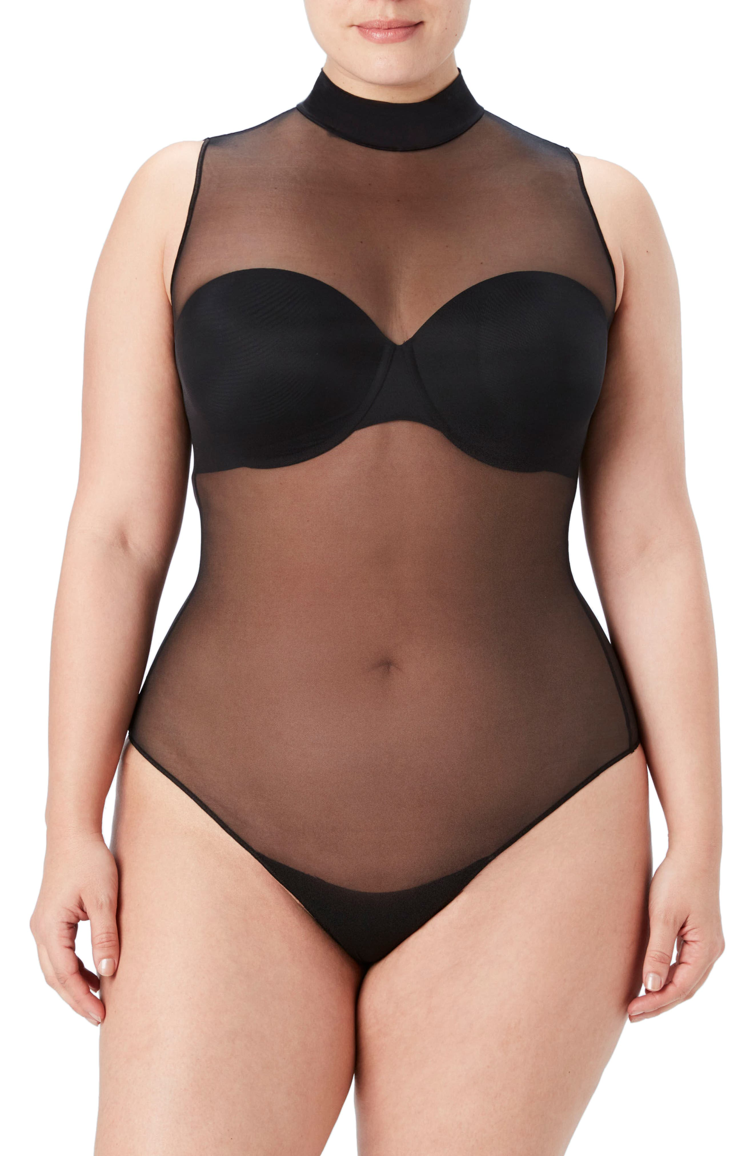 Sheer Fashion Mock Neck Thong Smoother Bodysuit,                             Main thumbnail 1, color,                             Very Black