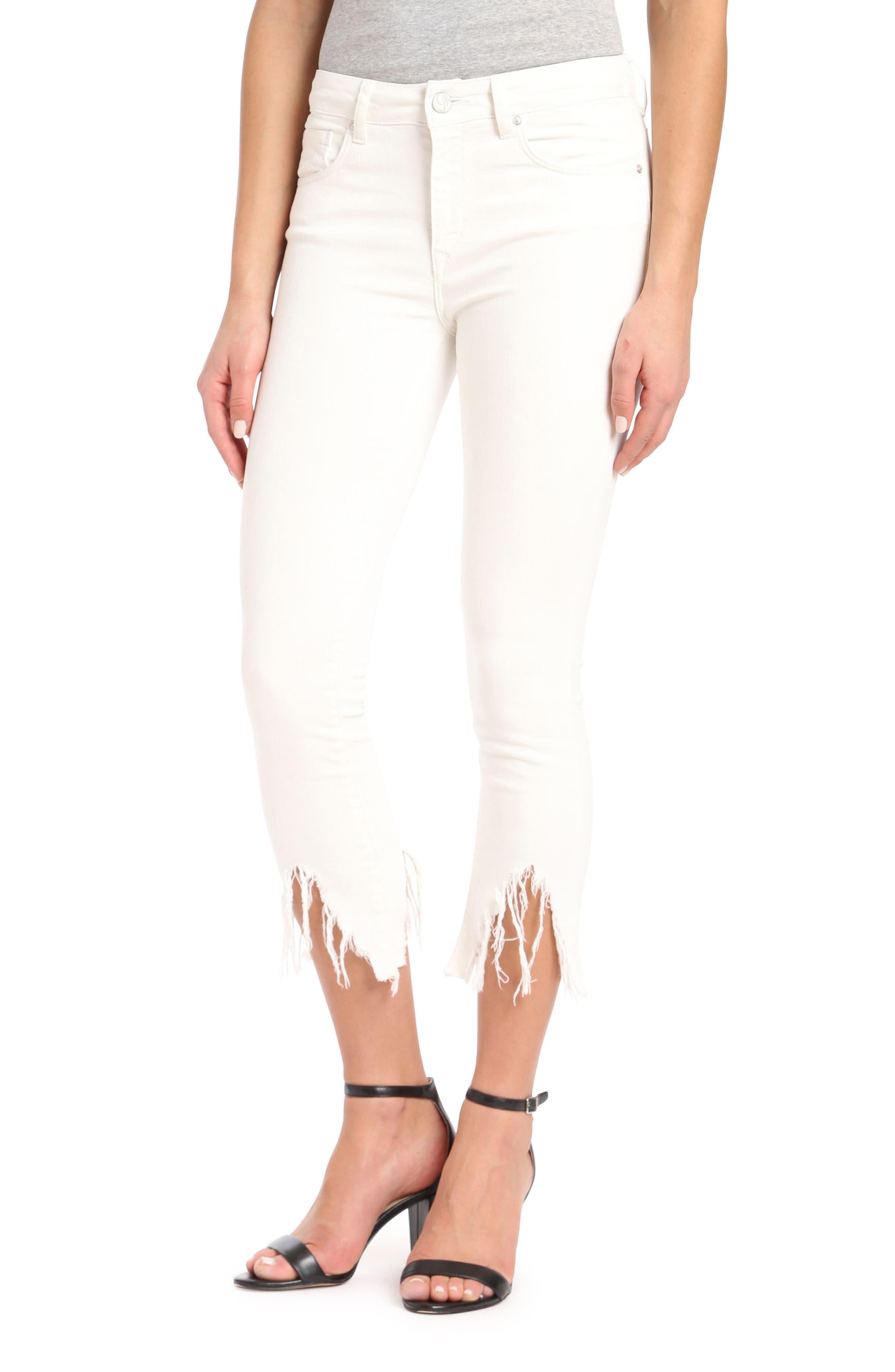 Mavi Tess Vintage Fringe Super Skinny Jeans,                         Main,                         color, White Fringe Vintage