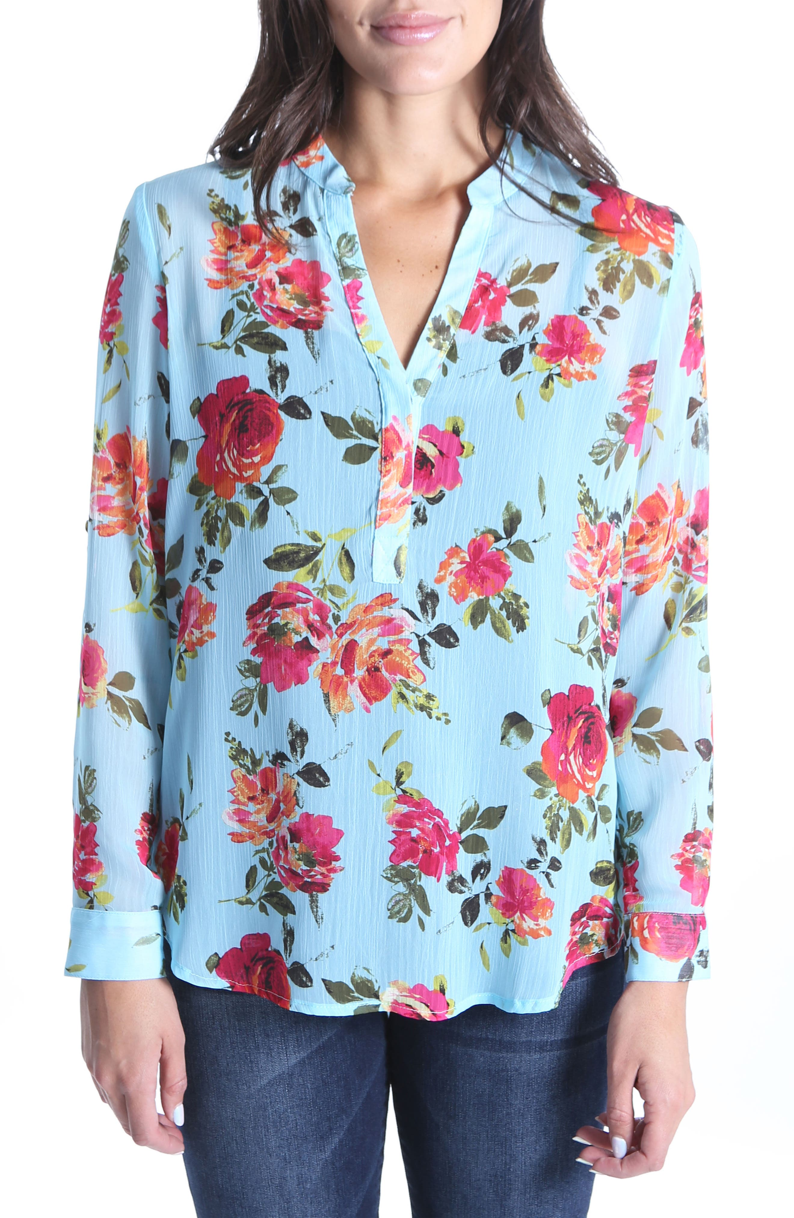 KUT from the Kloth Lucida Floral Crinkle Woven Top