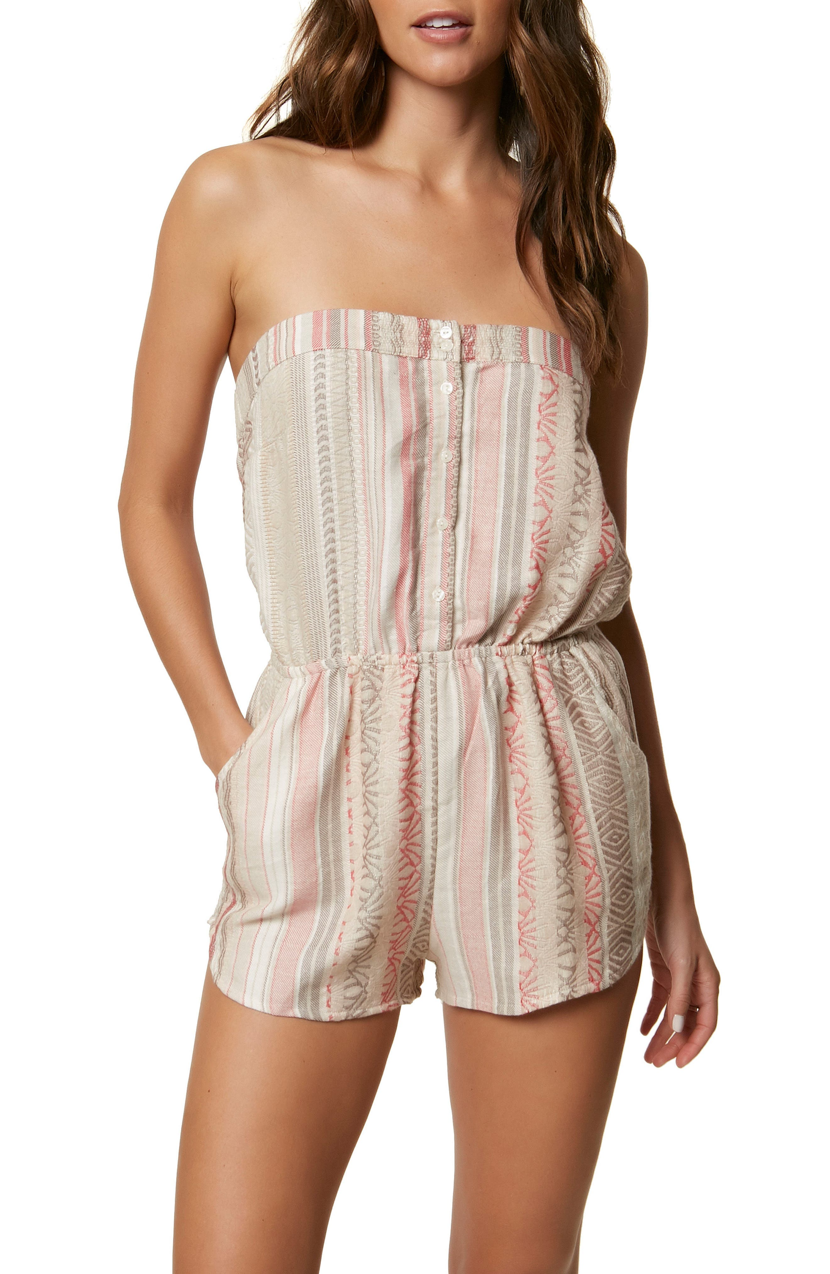 Shayla Strapless Romper,                         Main,                         color, Naked