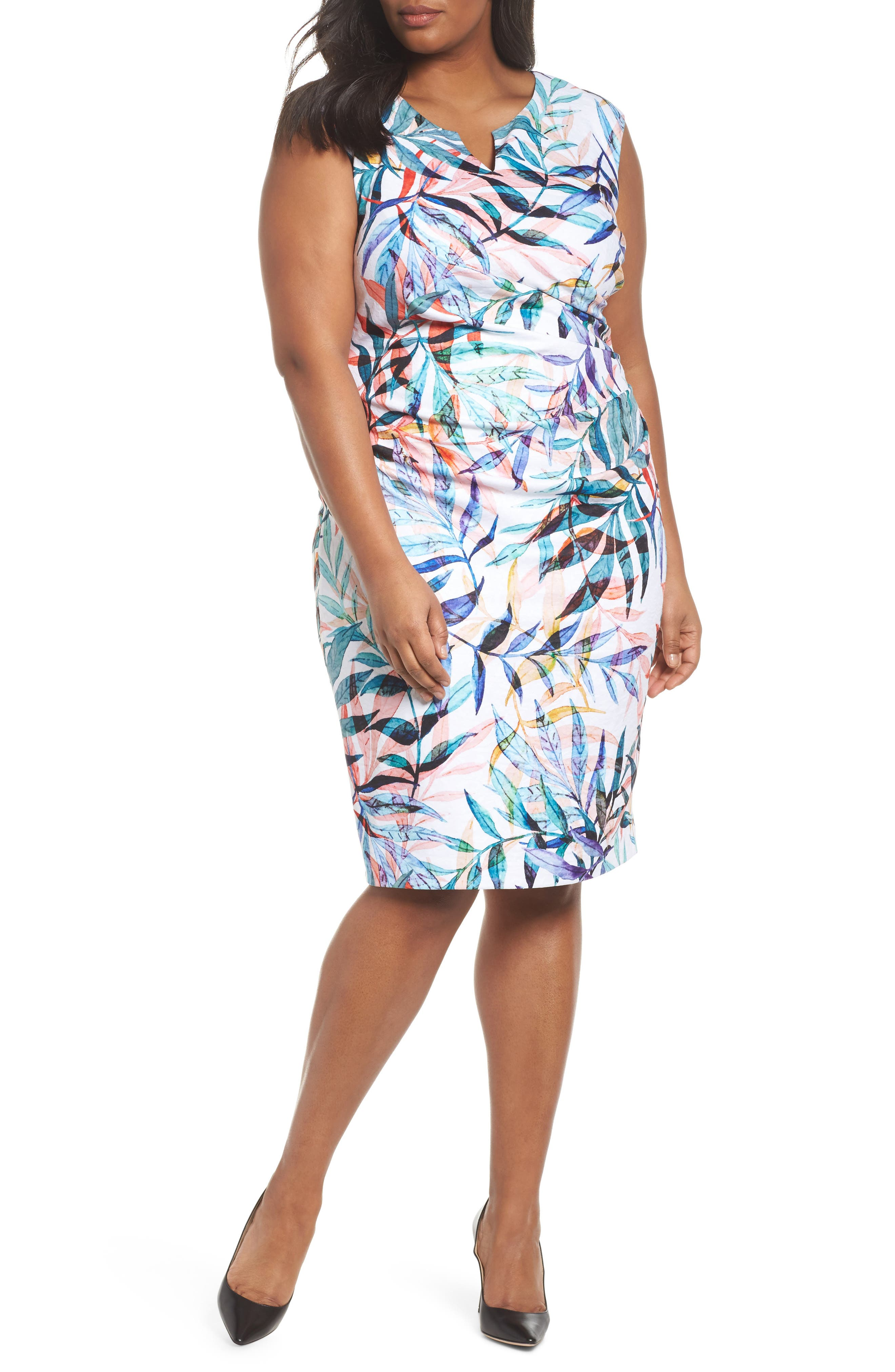 Watercolor Leaves Sheath Dress,                             Main thumbnail 1, color,                             Ivory Multi