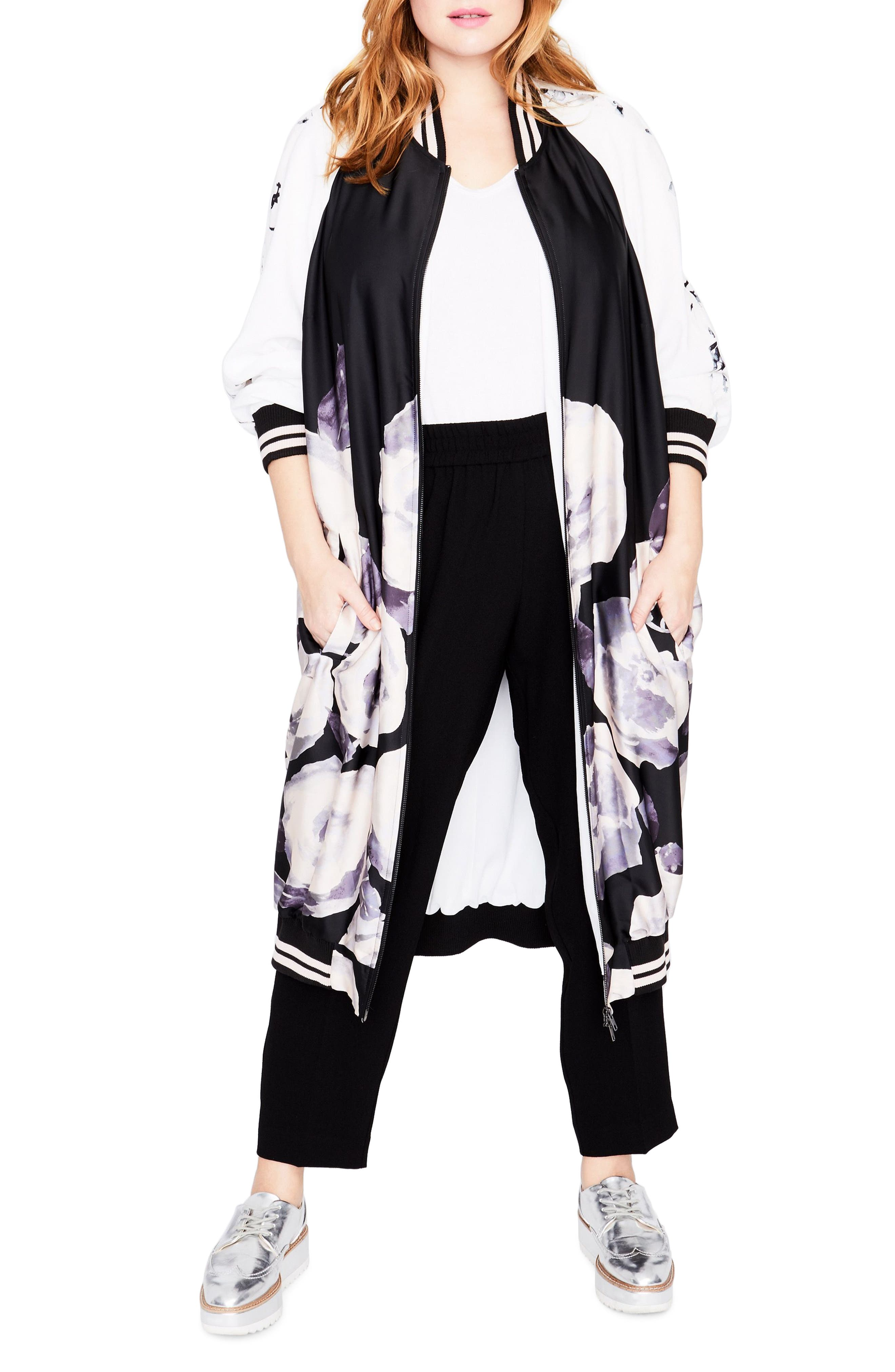 Floral Print Duster Bomber,                         Main,                         color, Romantic Rose Combo