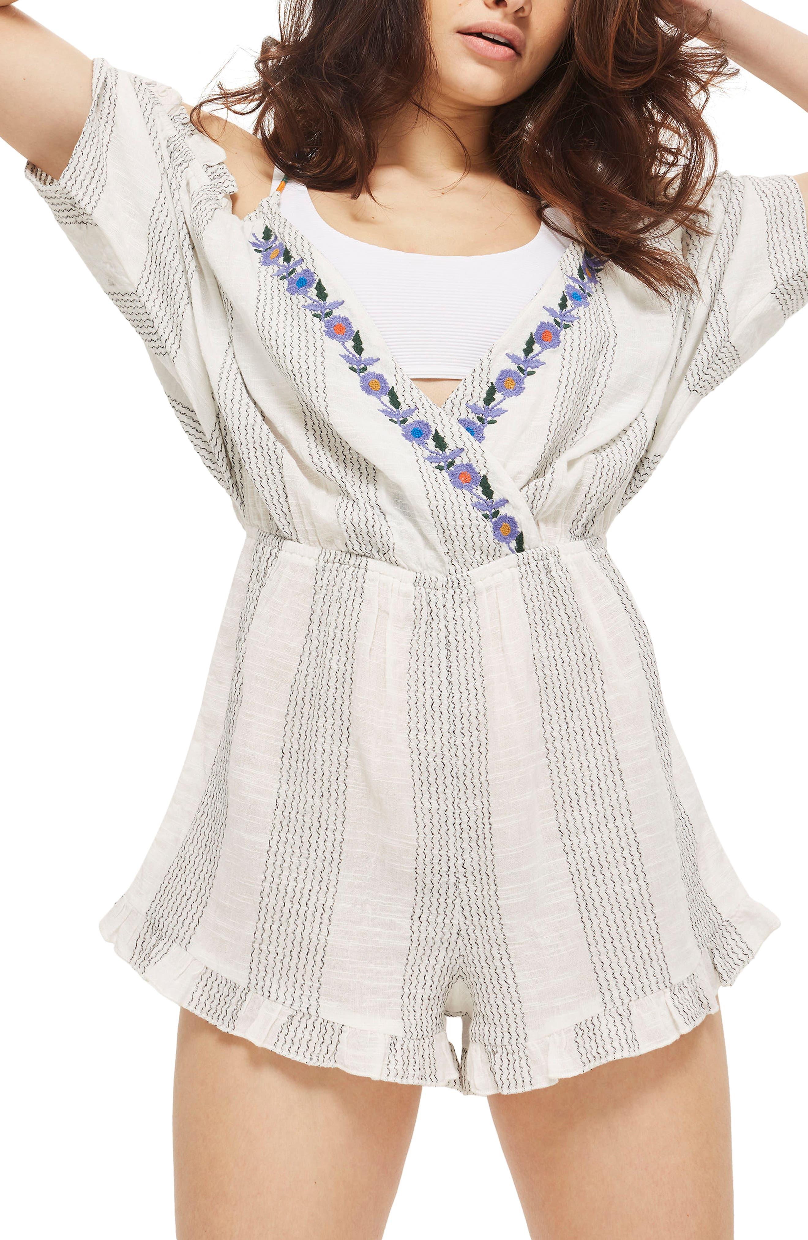 Embroidered Cold Shoulder Romper,                         Main,                         color, White Multi