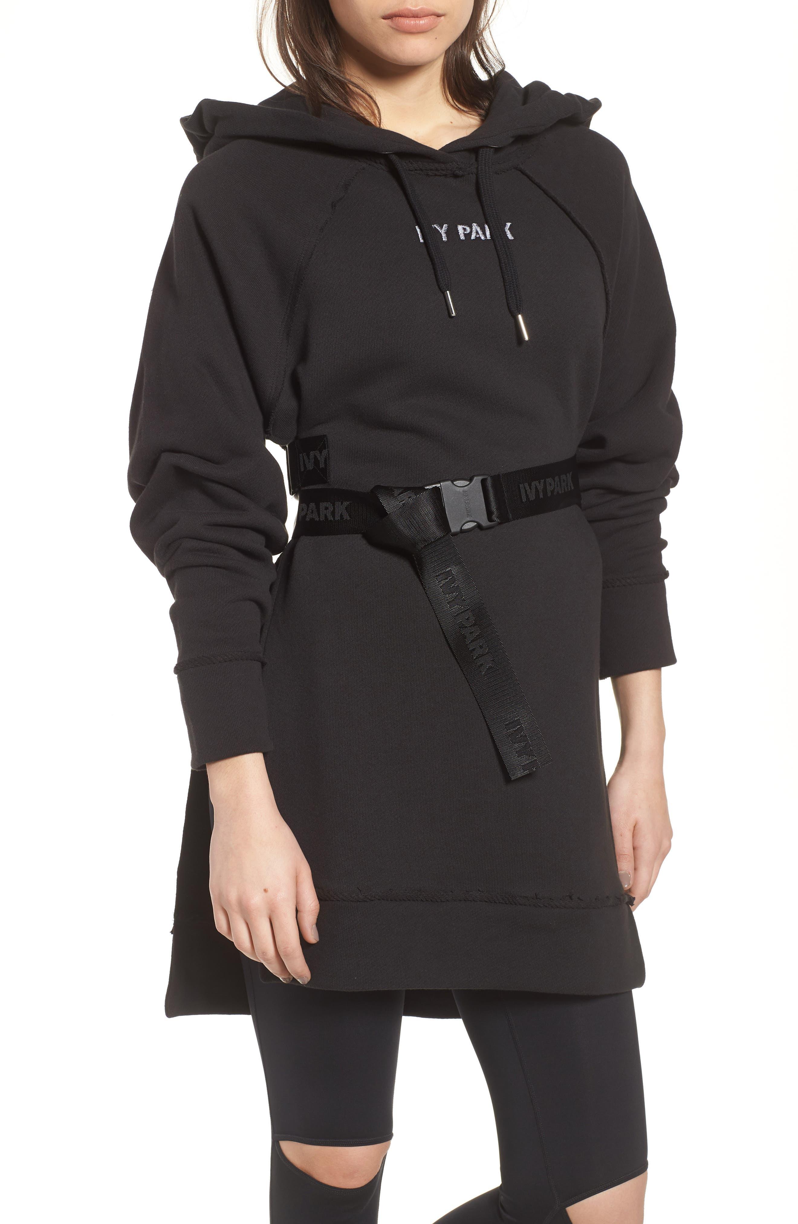 Harness Belt Hoodie,                         Main,                         color, Black