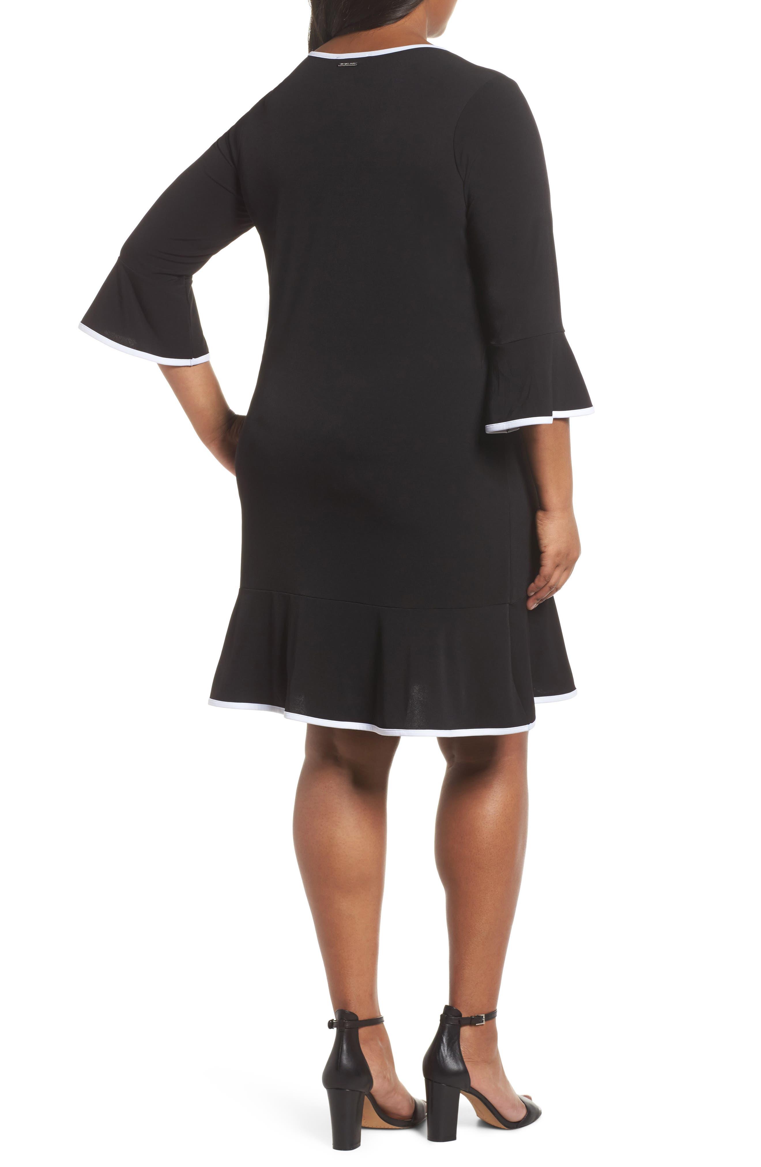 Solid Flounce Dress,                             Alternate thumbnail 2, color,                             Black