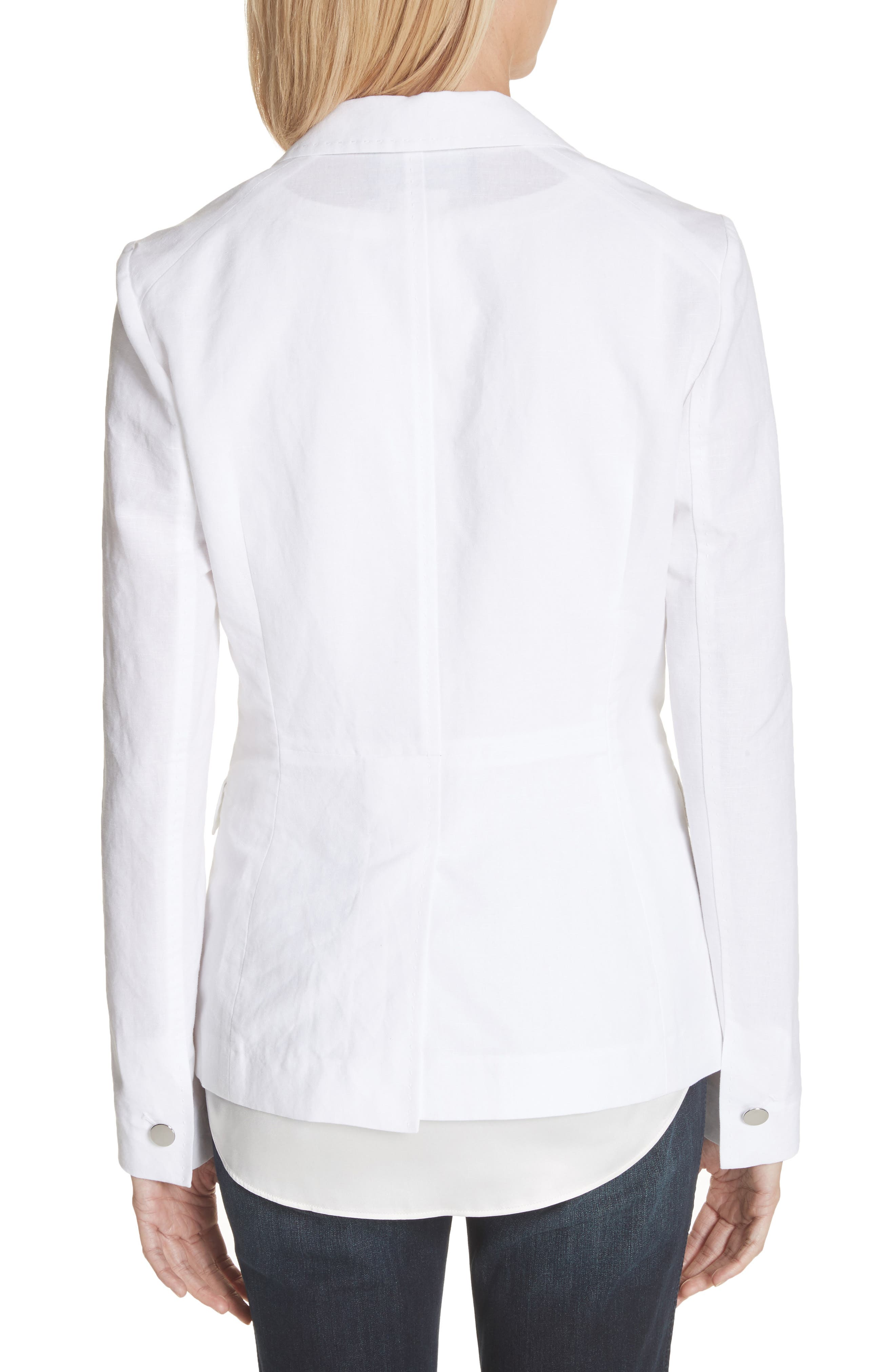 Lyndon Courtly Cotton & Linen Jacket,                             Alternate thumbnail 2, color,                             White