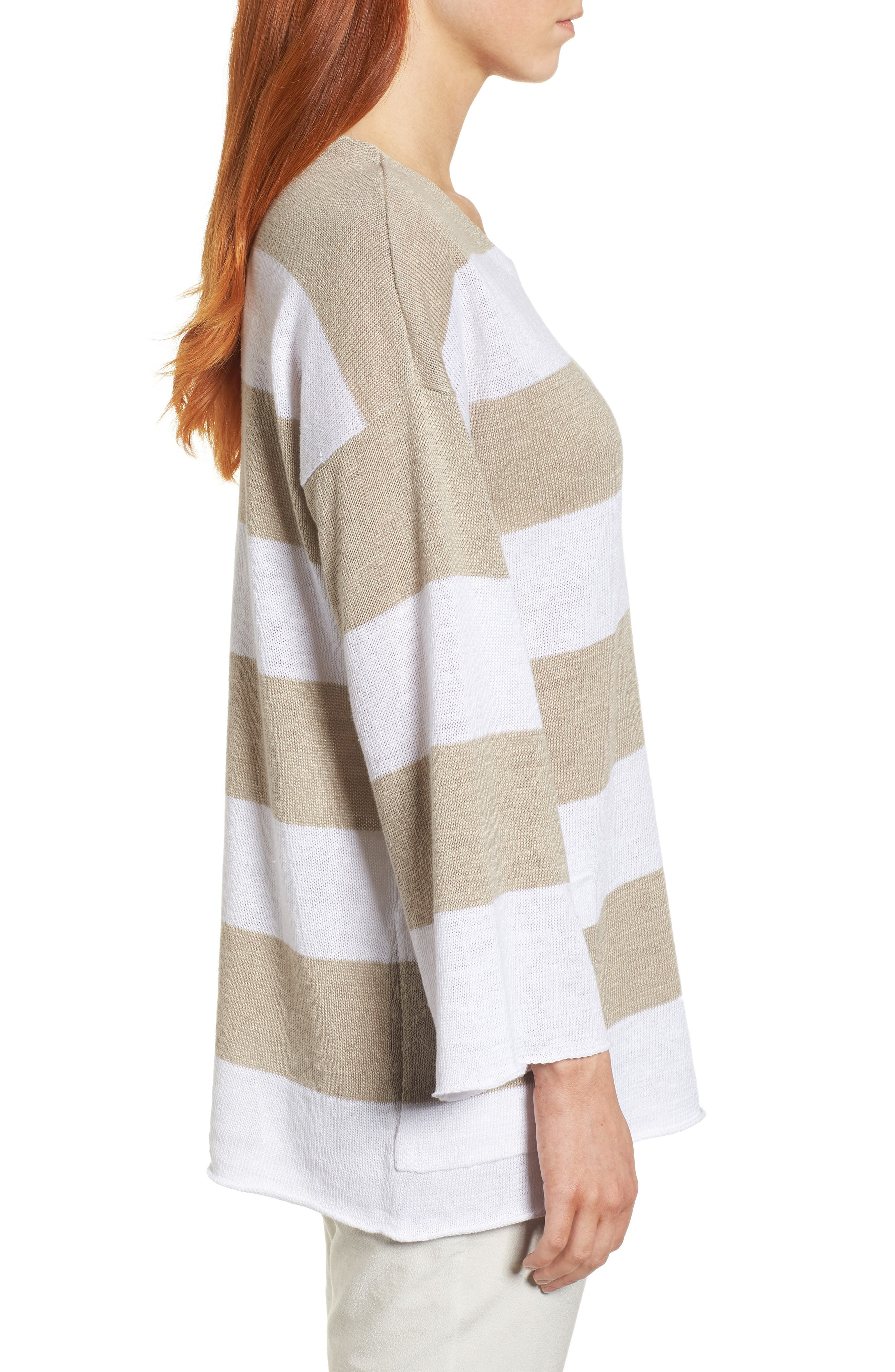 Stripe Organic Linen Knit A-Line Top,                             Alternate thumbnail 3, color,                             White/ Natural
