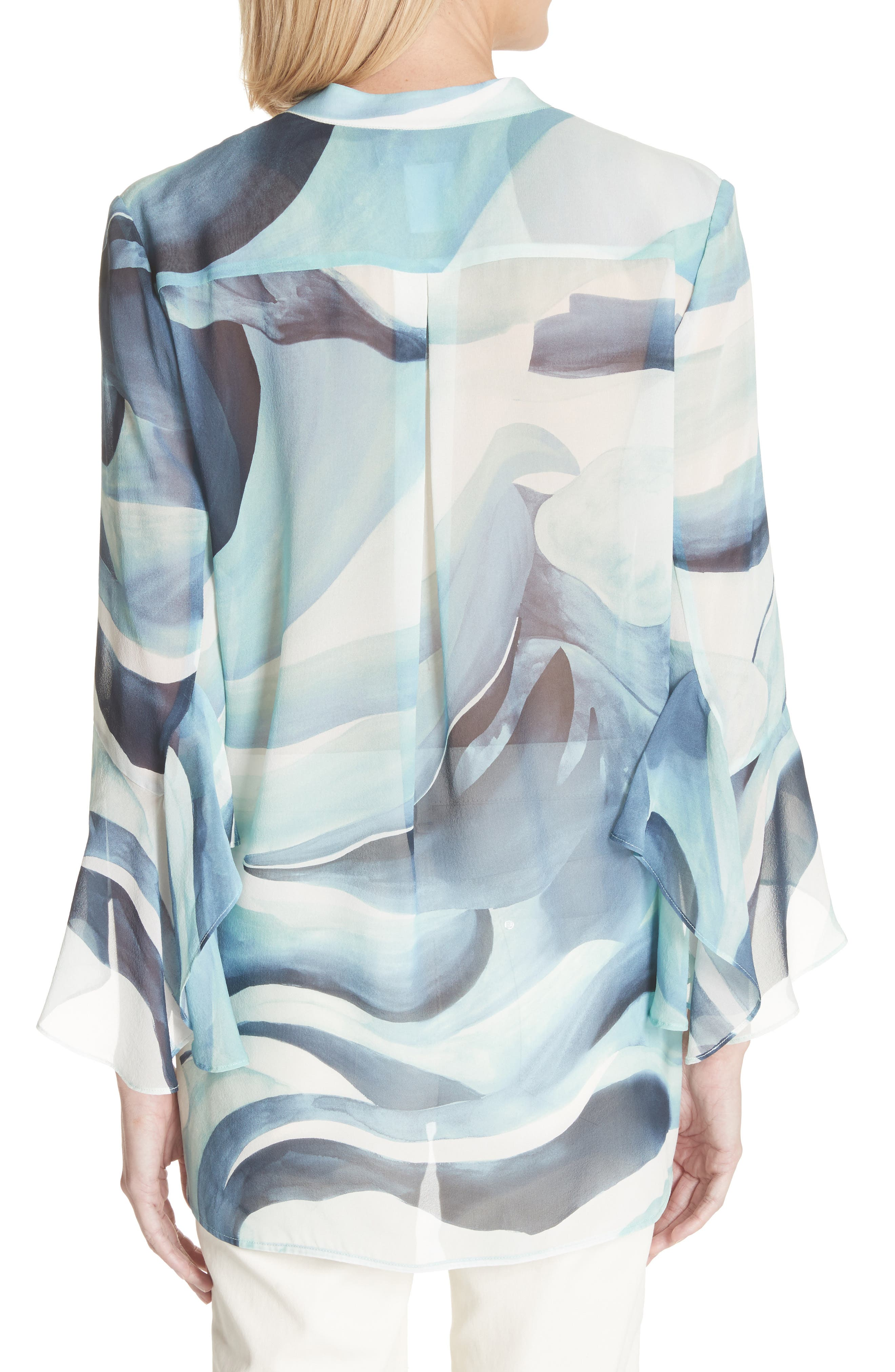 Graydon Print Silk Chiffon Blouse,                             Alternate thumbnail 2, color,                             Herbal Mist Multi
