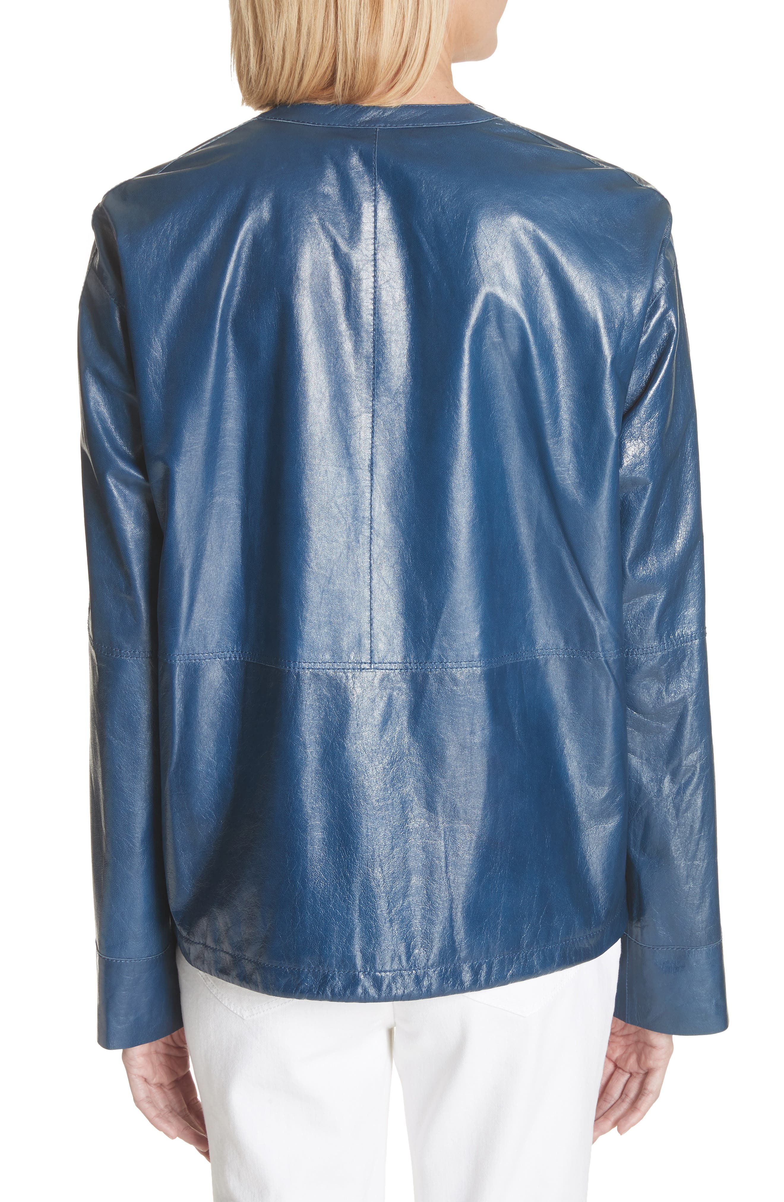 Fleming Leather Jacket,                             Alternate thumbnail 2, color,                             Majolica Blue