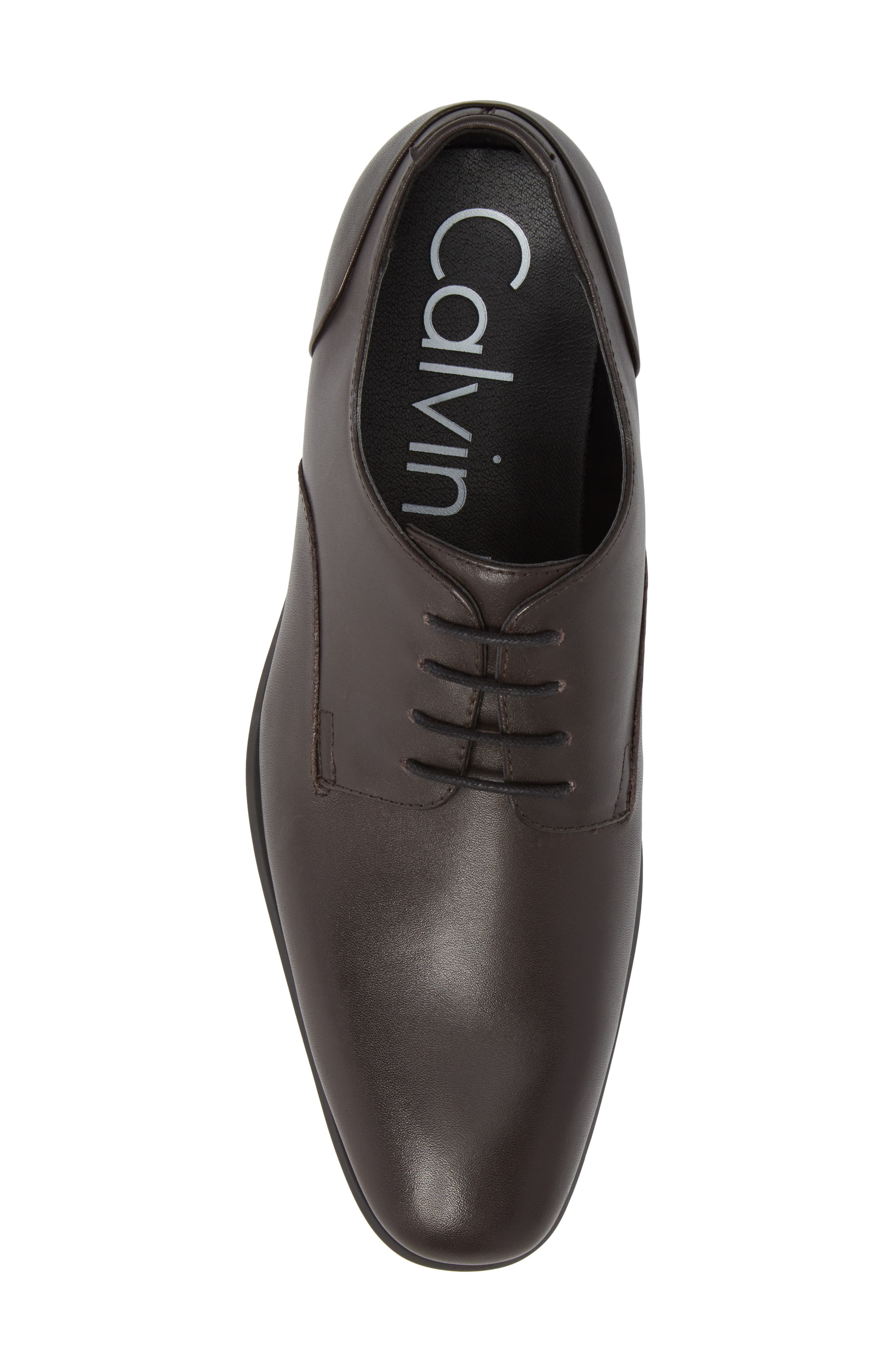 Lucca Plain Toe Derby,                             Alternate thumbnail 5, color,                             Dark Brown Leather