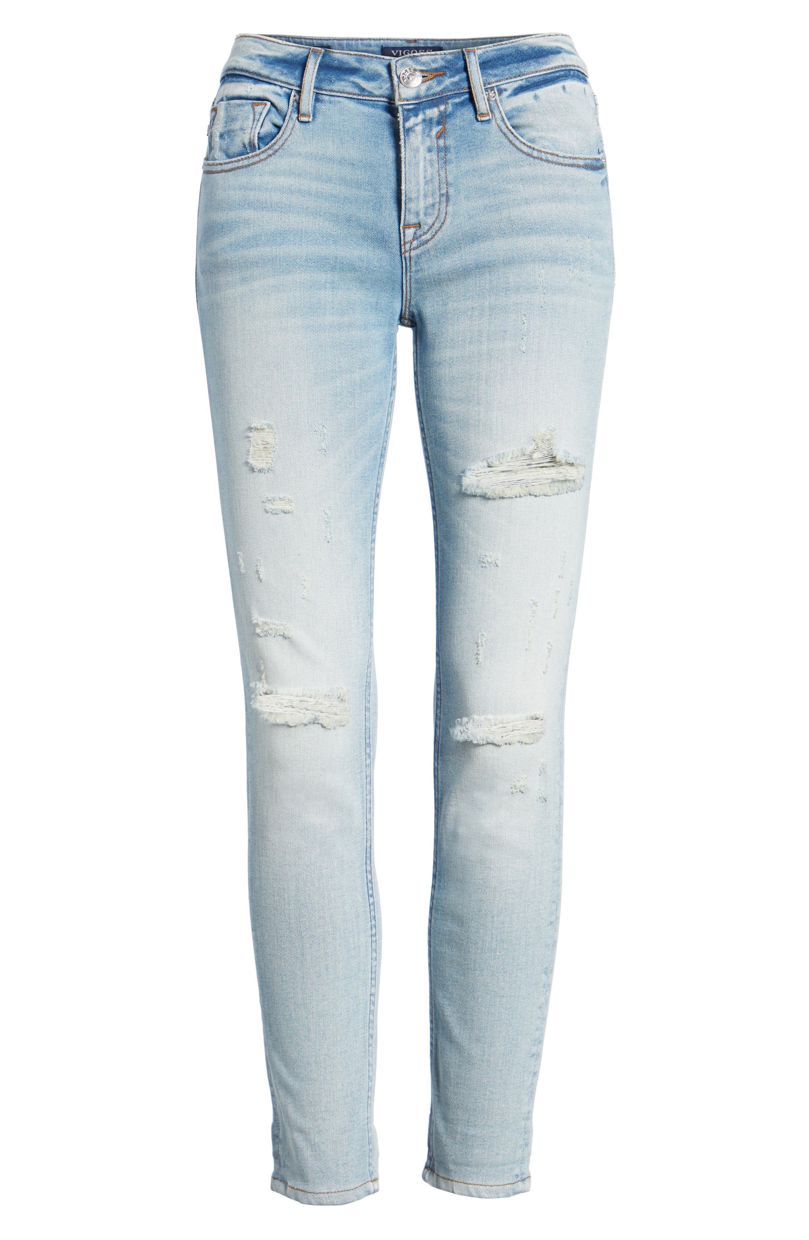Thompson Tomboy Distressed Skinny Jeans,                             Alternate thumbnail 6, color,                             Light Wash
