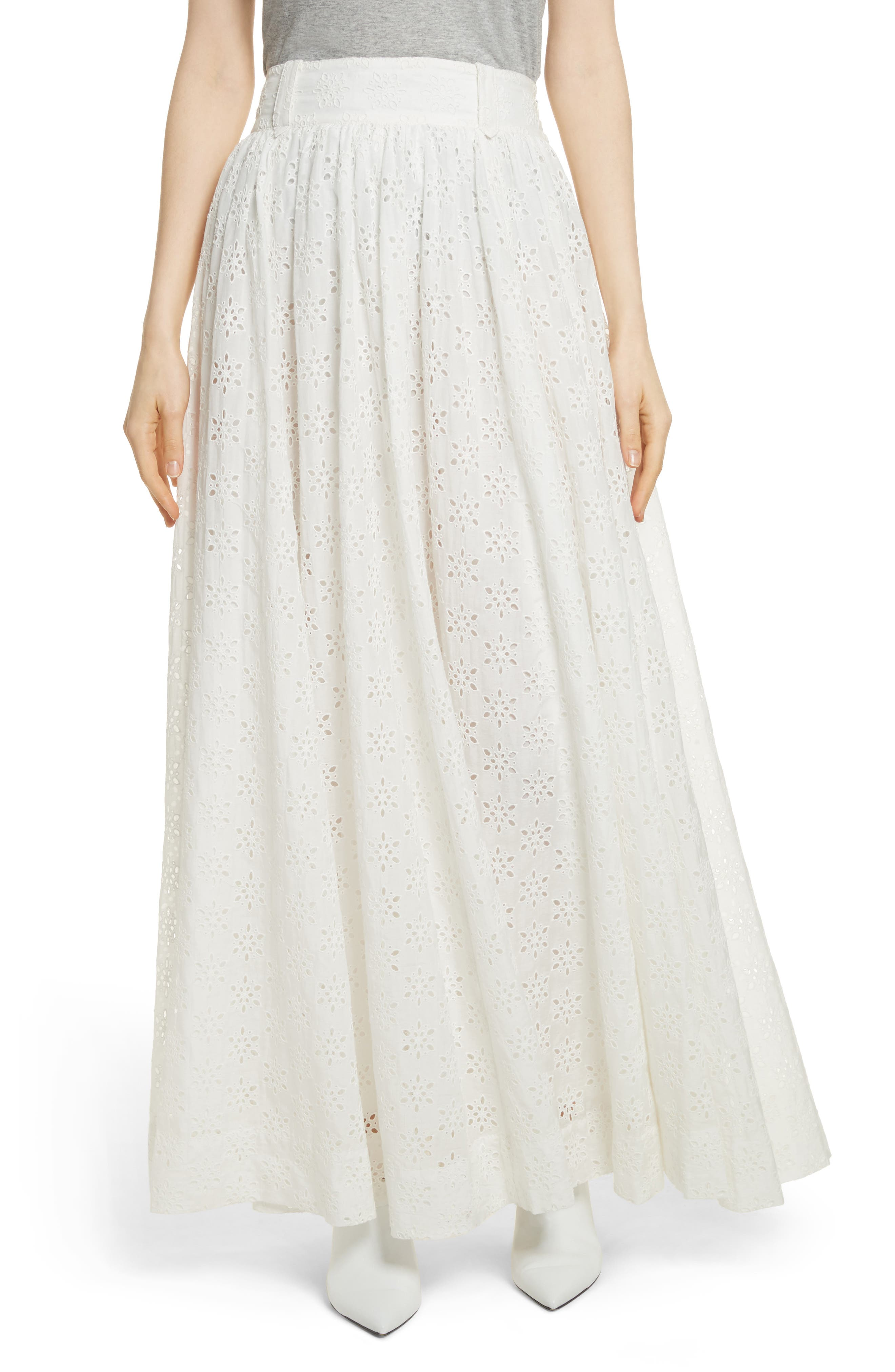Eyelet Maxi Skirt,                         Main,                         color, Ivory